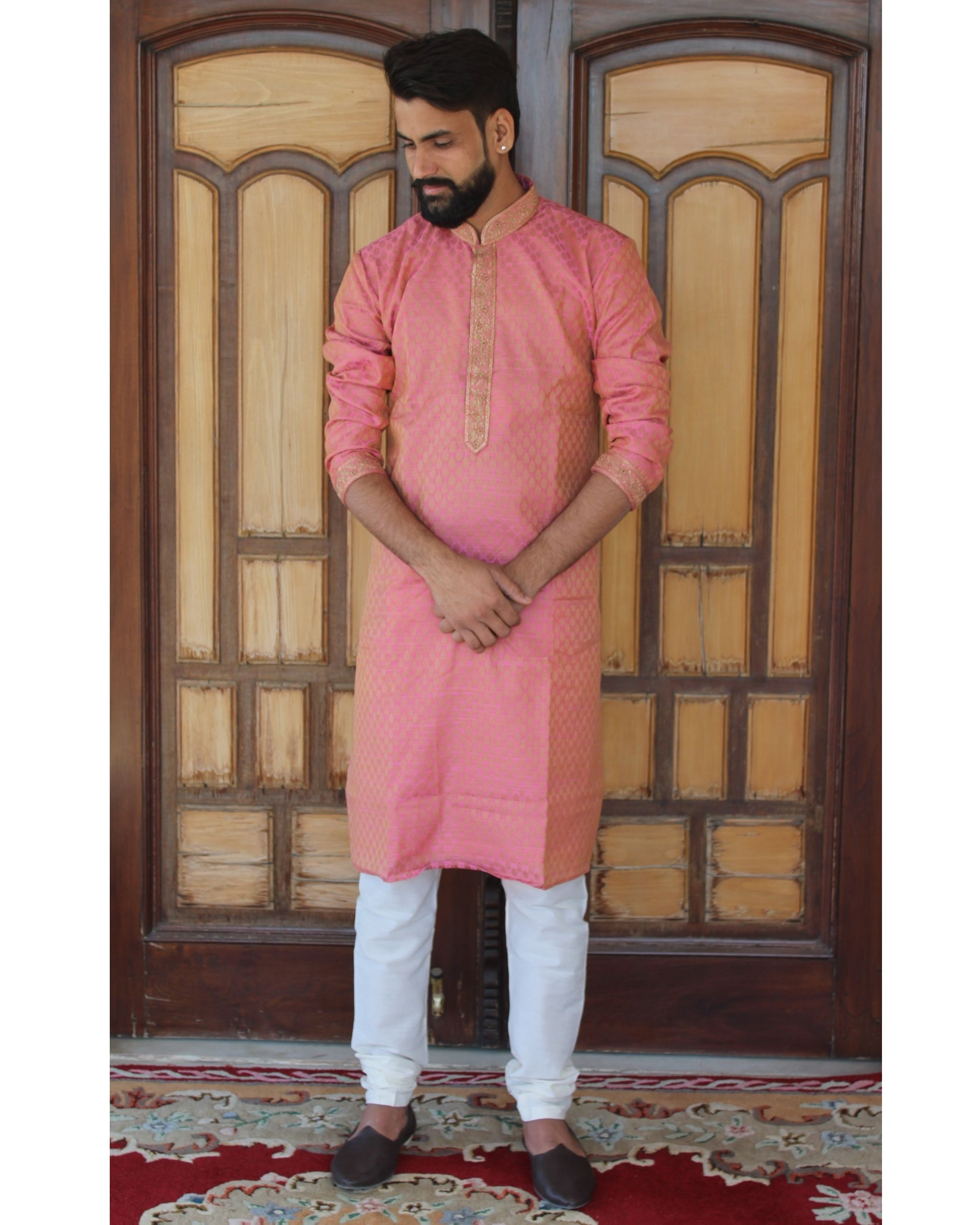 Pink embroidered kurta set - set of two
