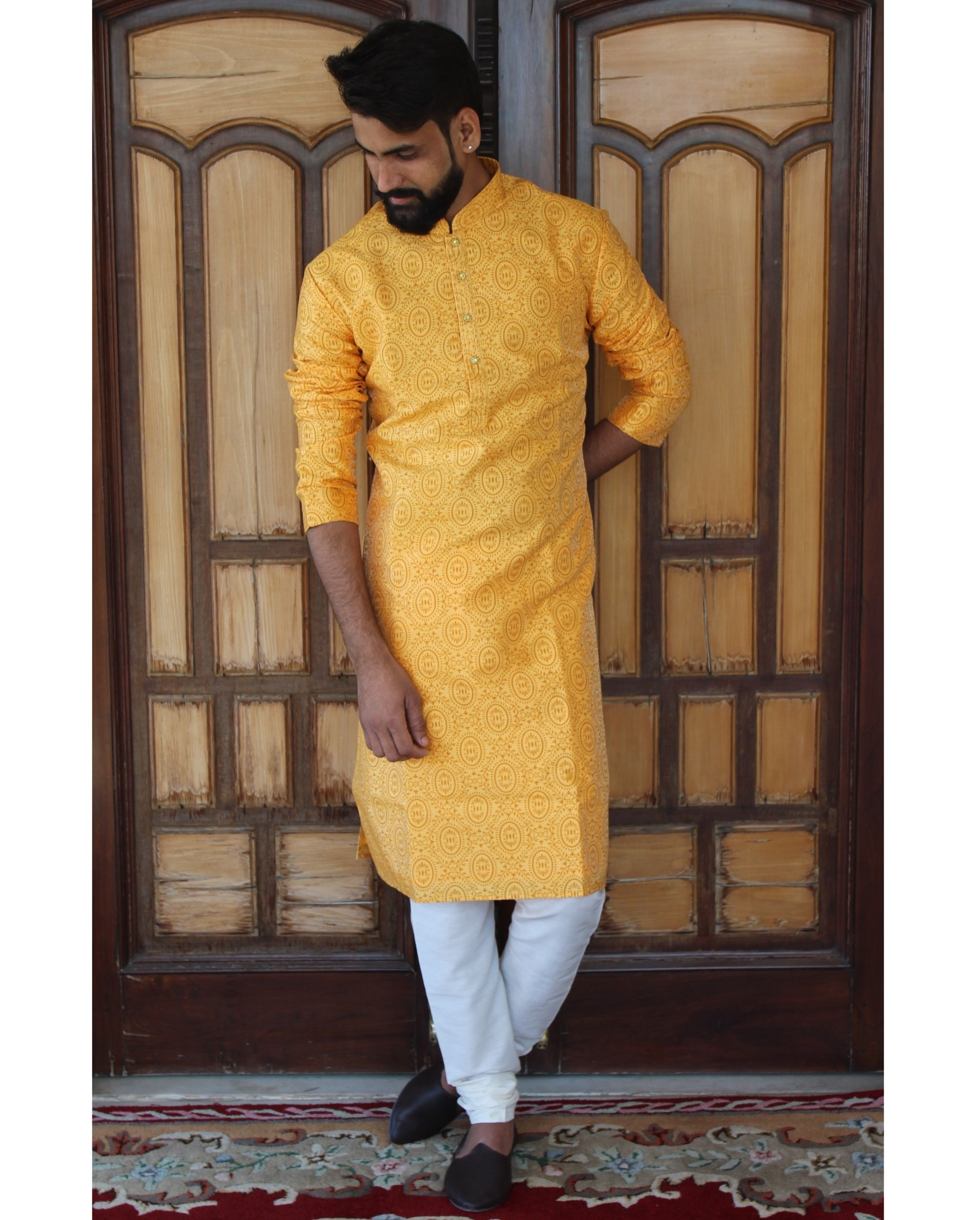 Sunshine yellow printed kurta set - set of two