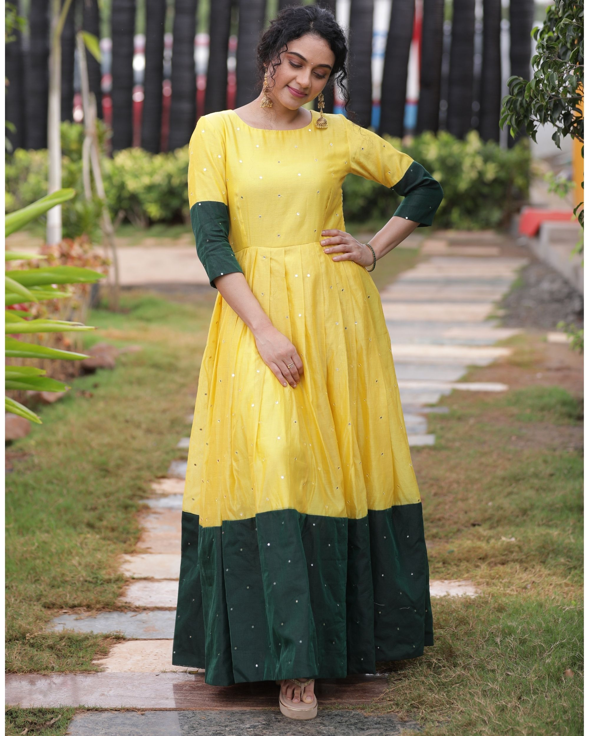 Yellow and green mirror dress