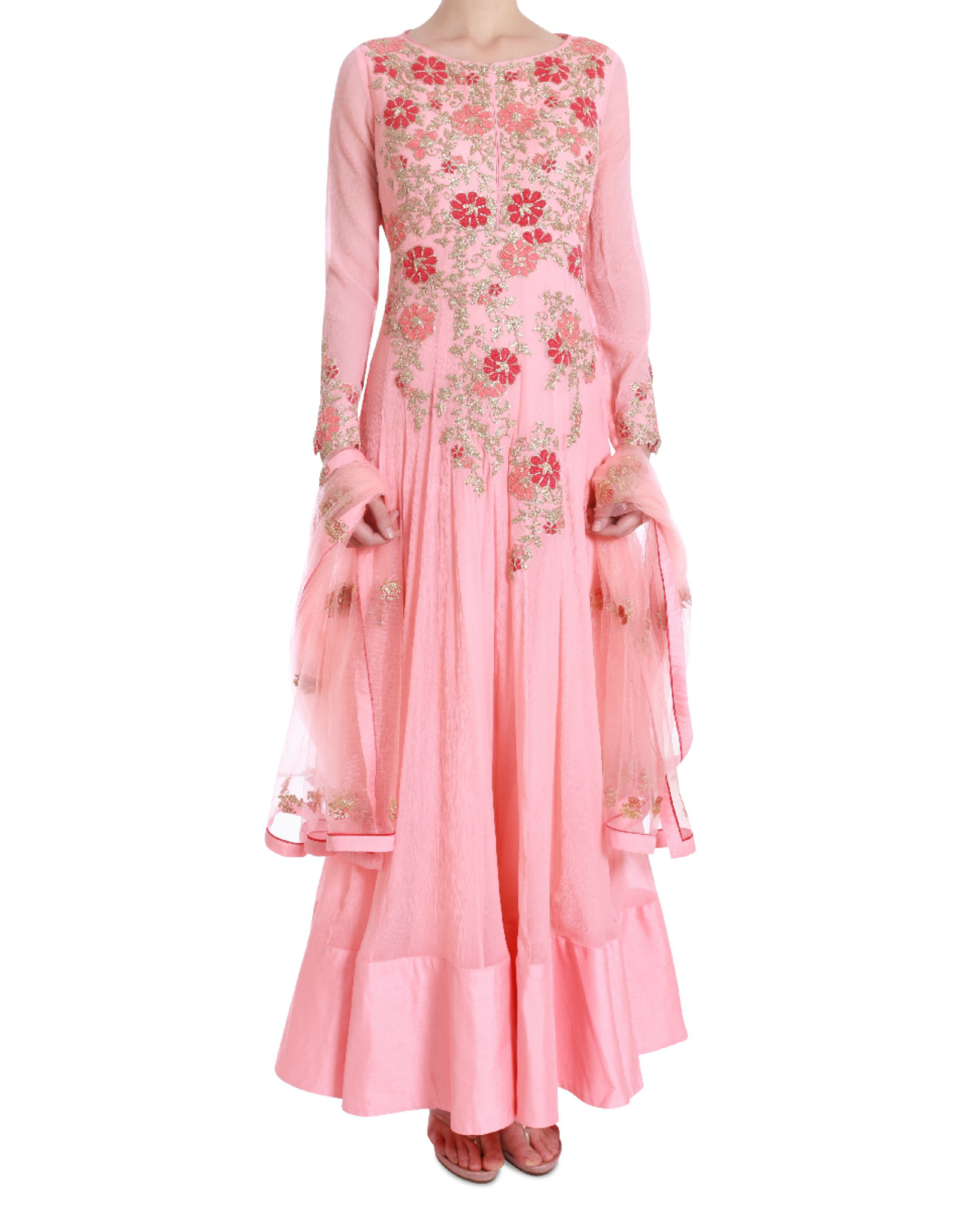 Floral blush floor length kalidaar