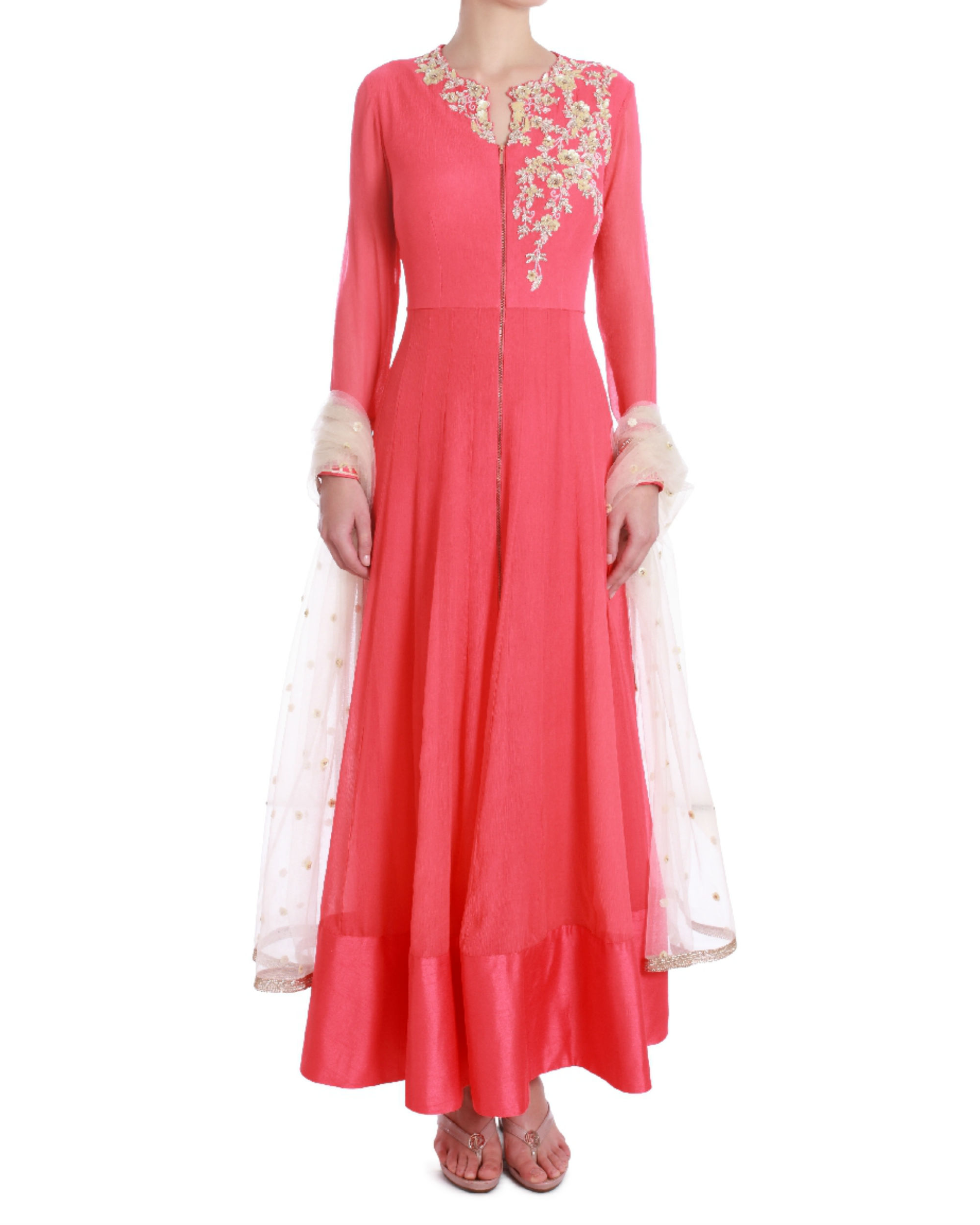 Rose demure floor length kalidaar