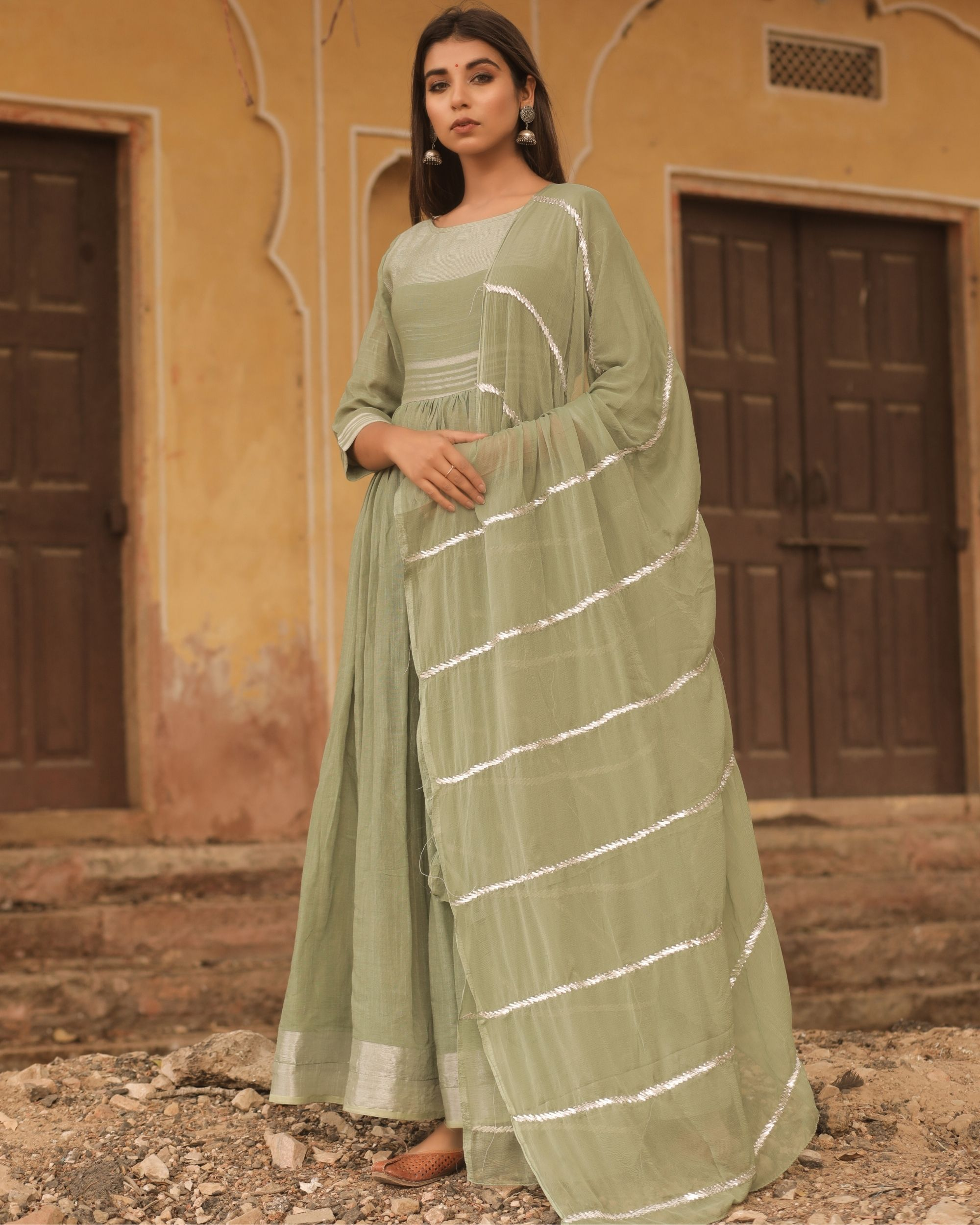 Olive linen dress with dupatta - set of two