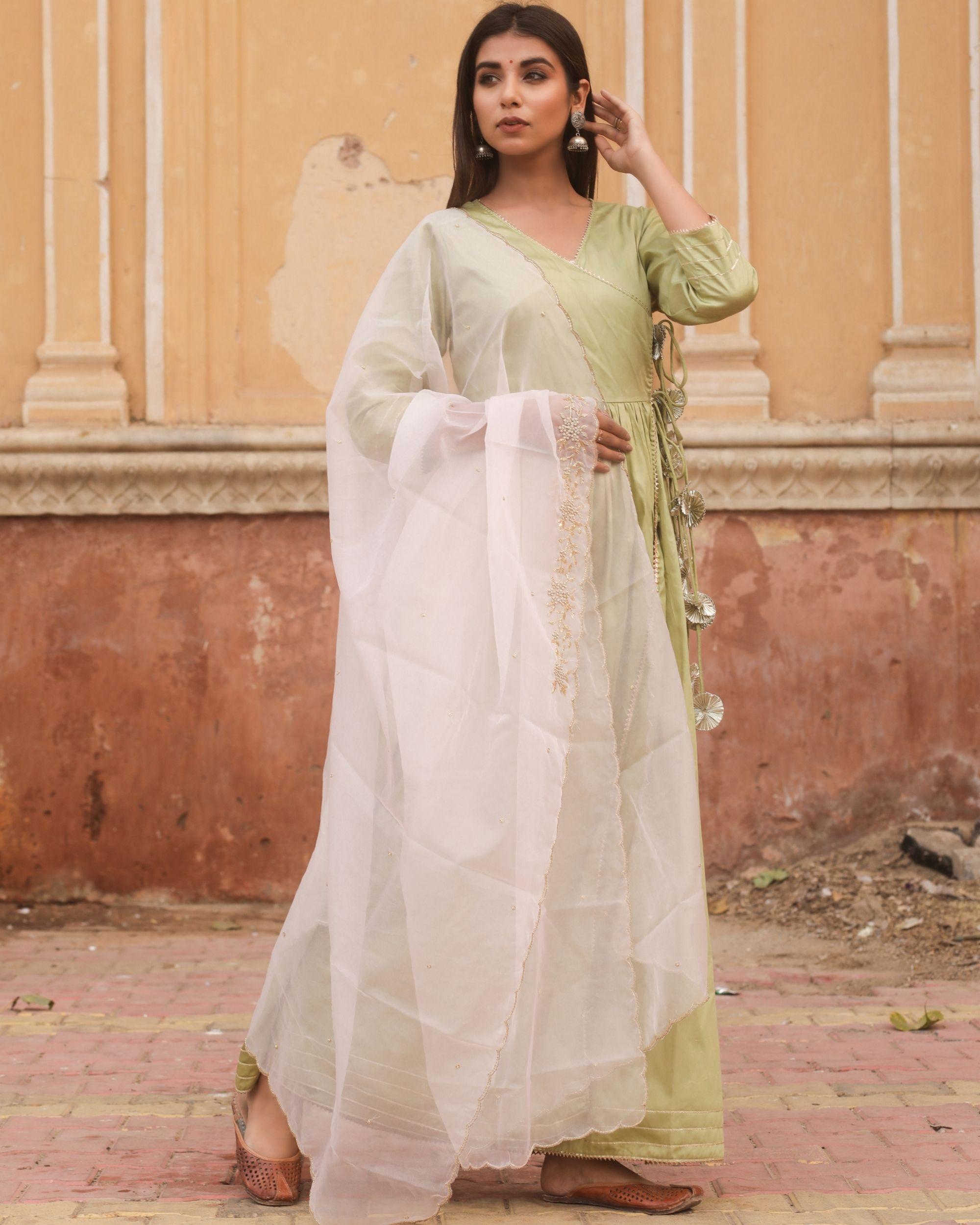 Olive angrakha tasseled dress with dupatta - set of two