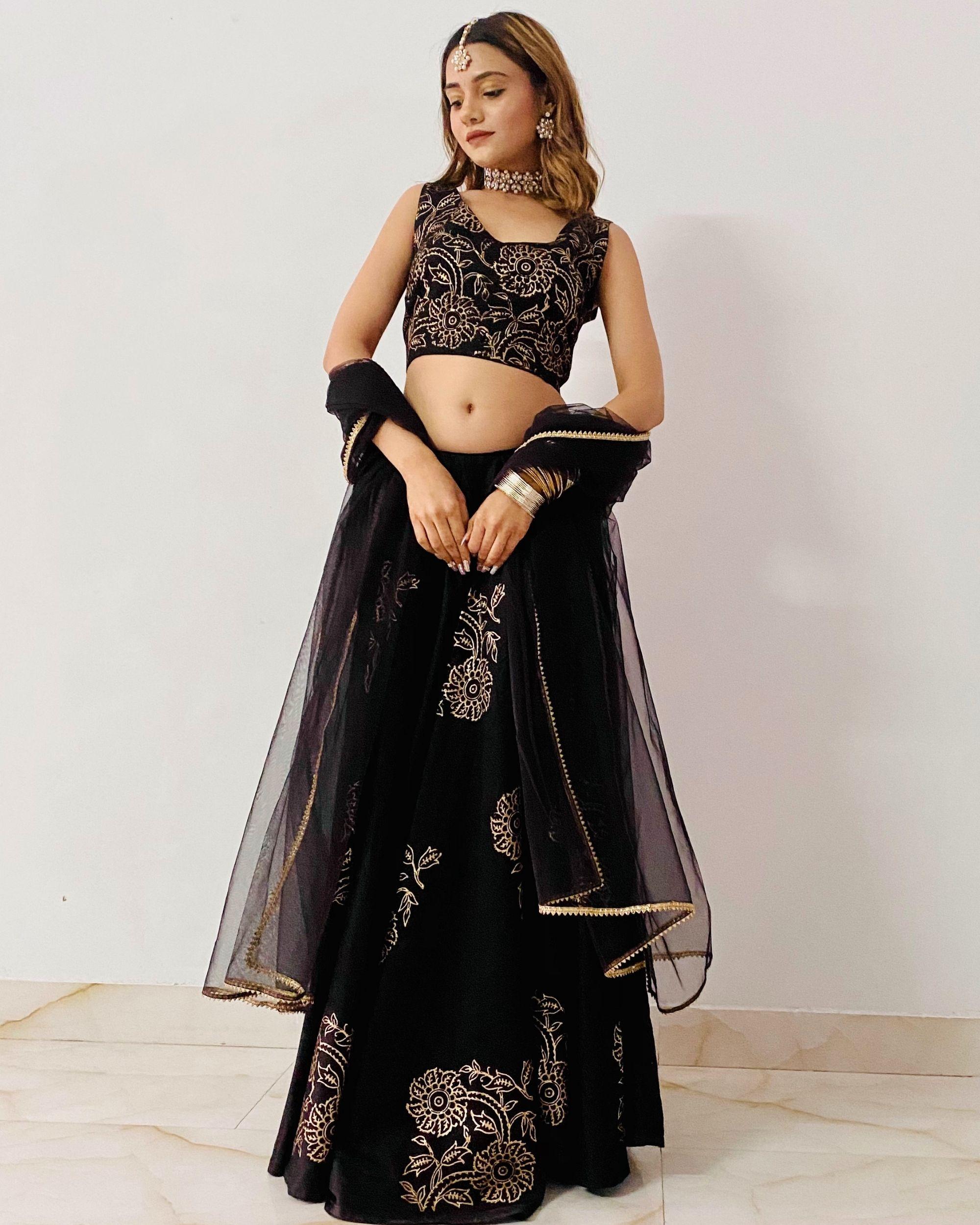 Black jaam silk lehenga with dupatta - set of three