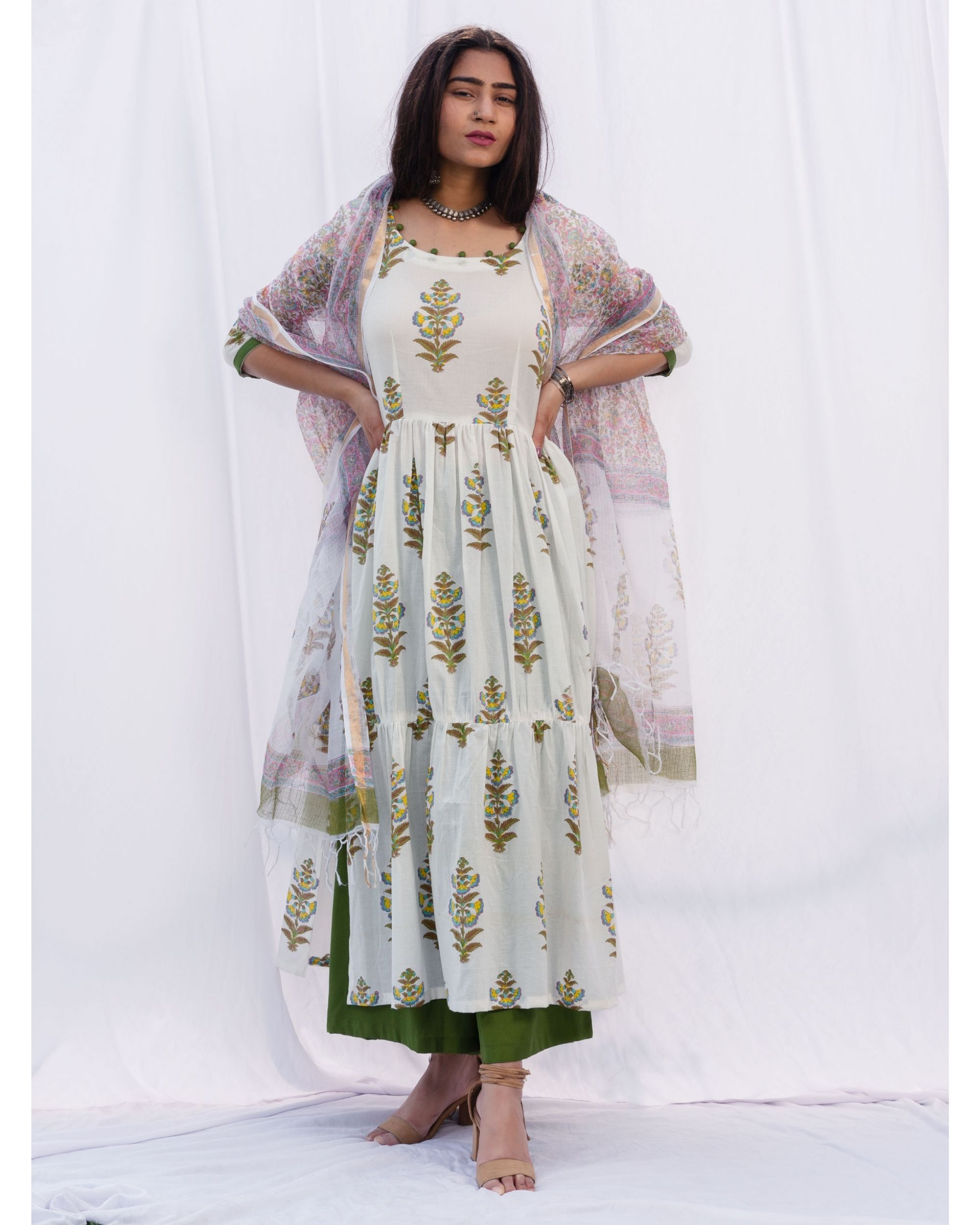 Tiered gathered suit set with dupatta - set of three
