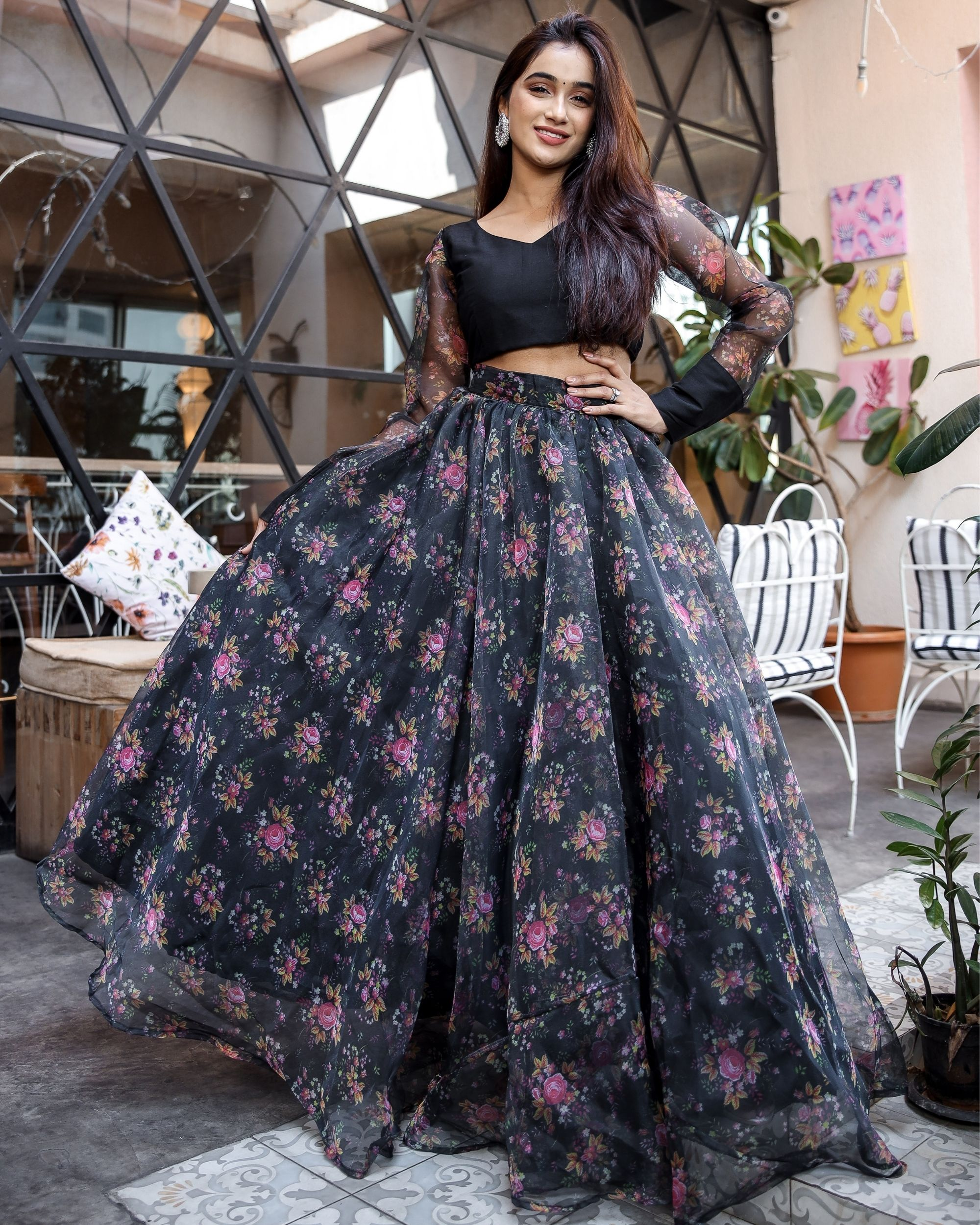 Floral organza lehenga with crop top - set of two