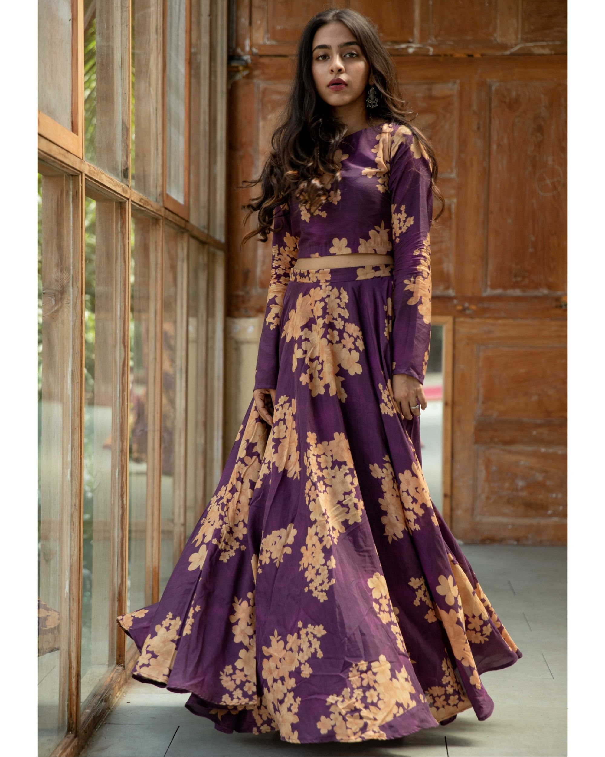 Purple floral crop top and skirt - set of two