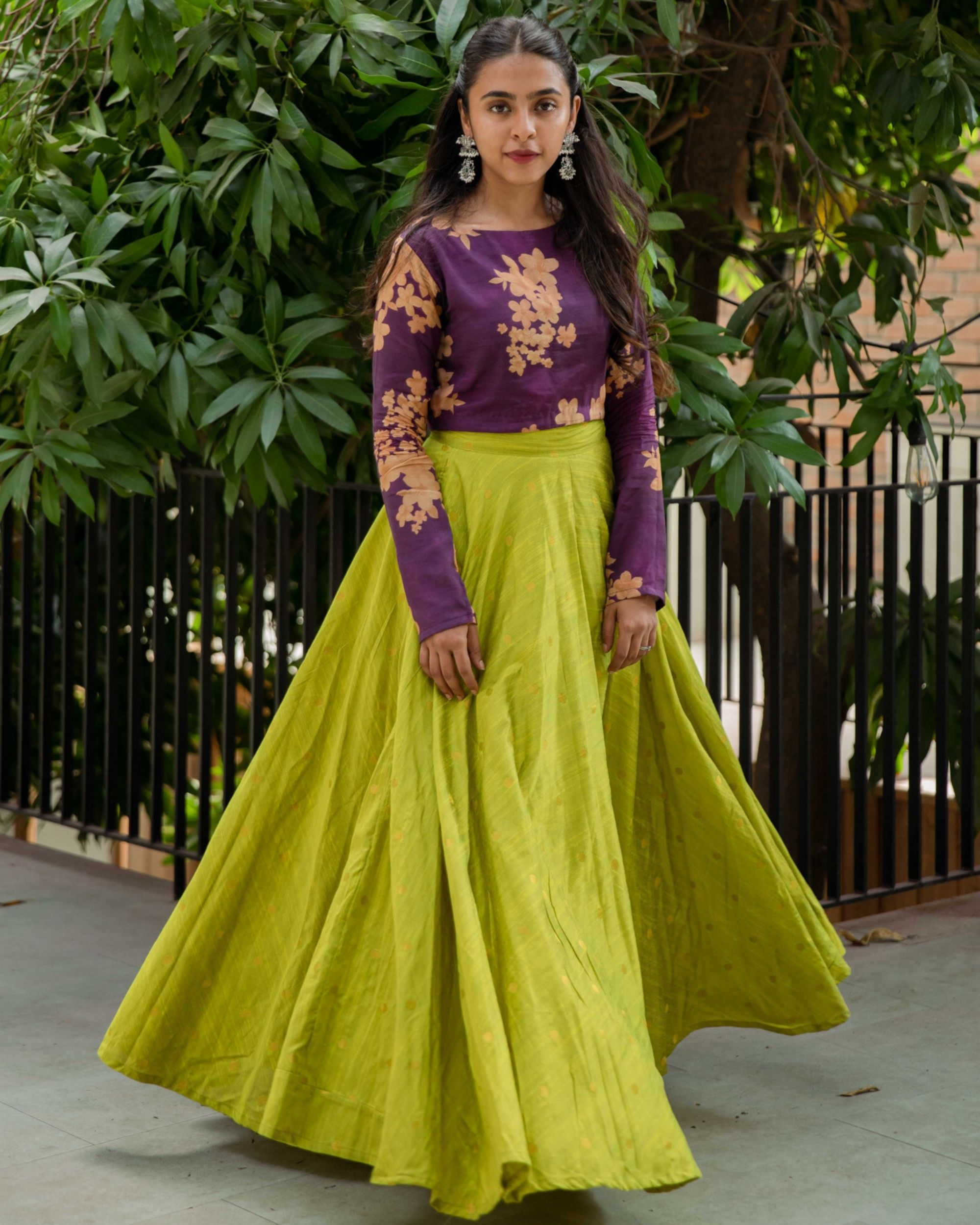 Purple floral crop top and lime skirt - set of two