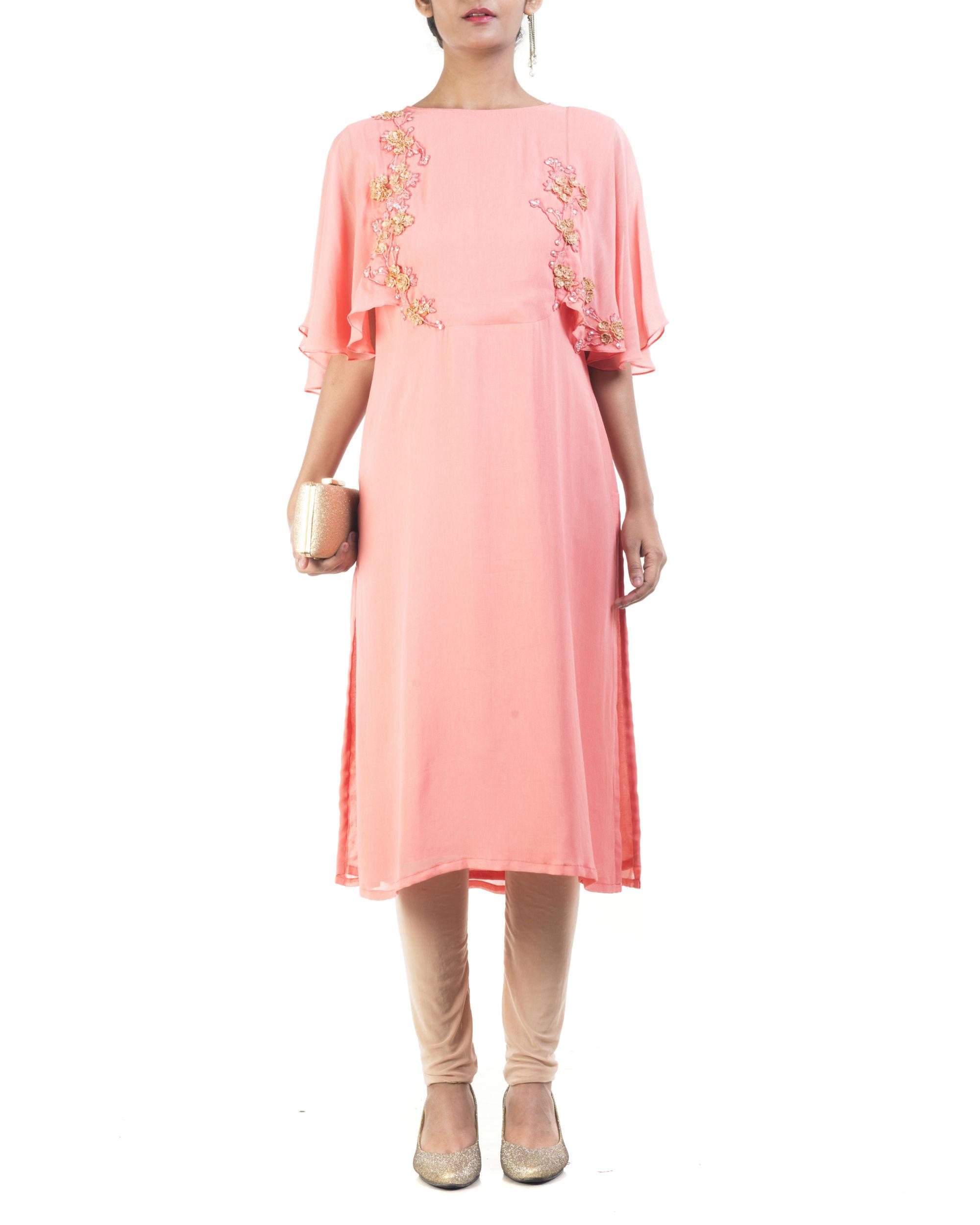 Peach cape sleeve tunic