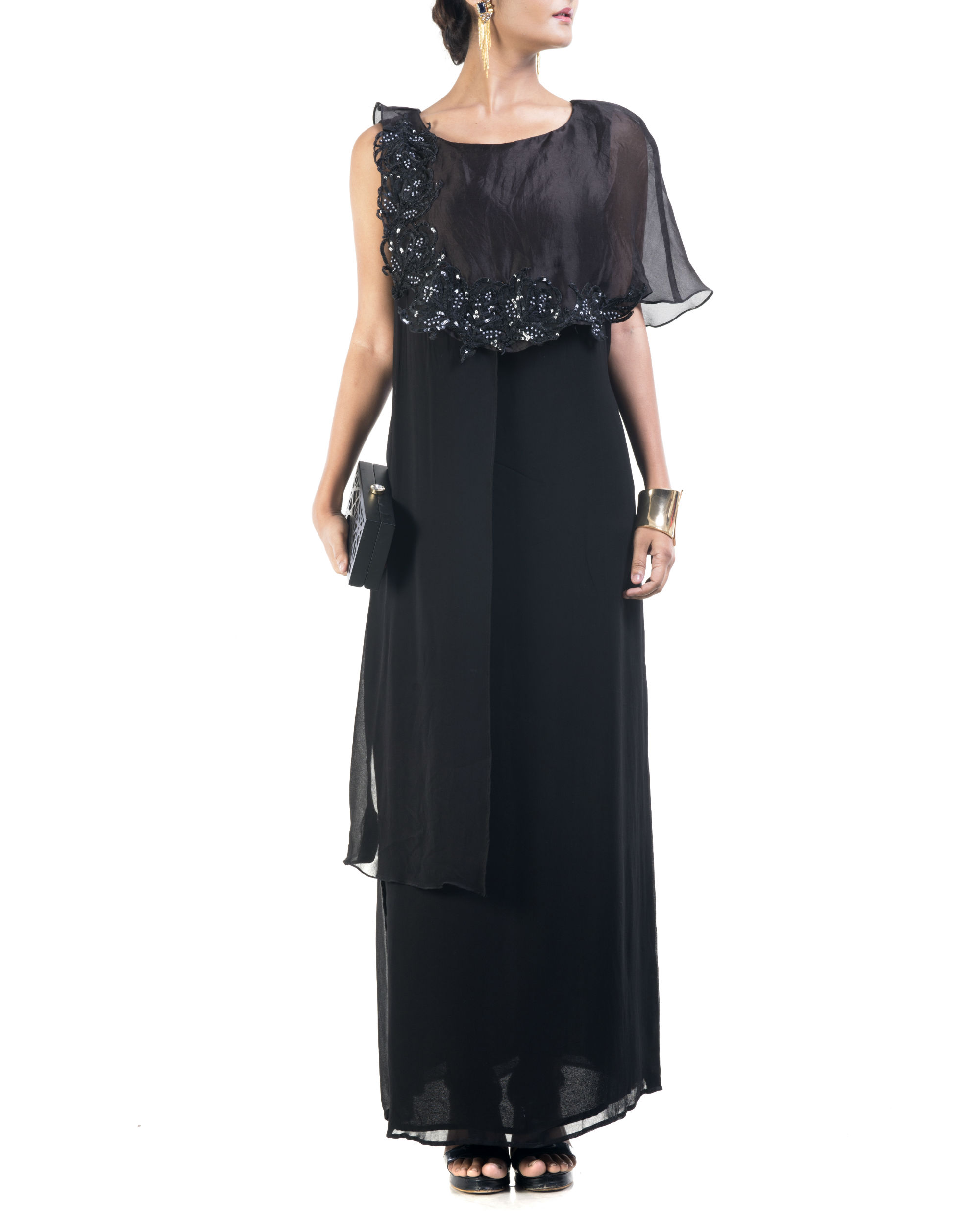 Black double layered tunic