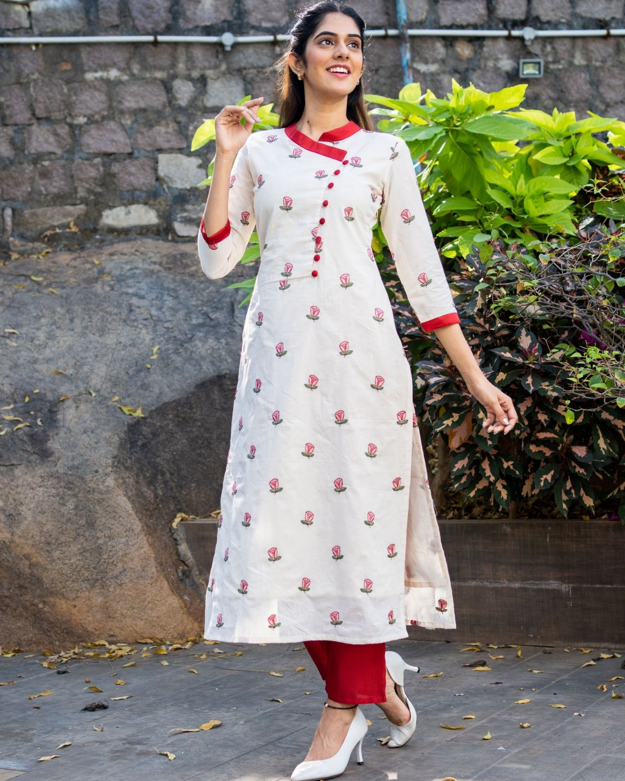 Off white rose embroidered kurta with red pants - set of two
