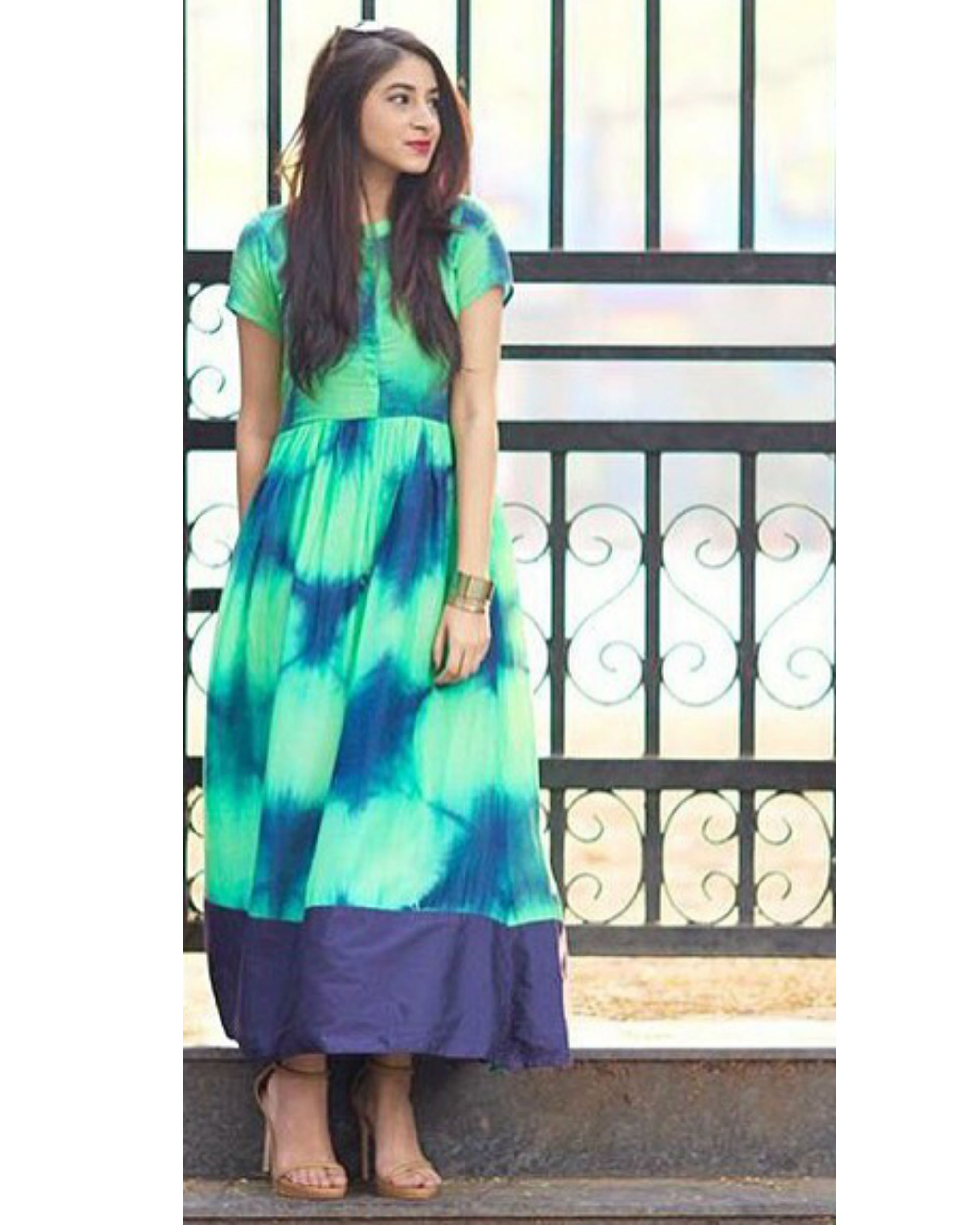 Green tie and dye dress