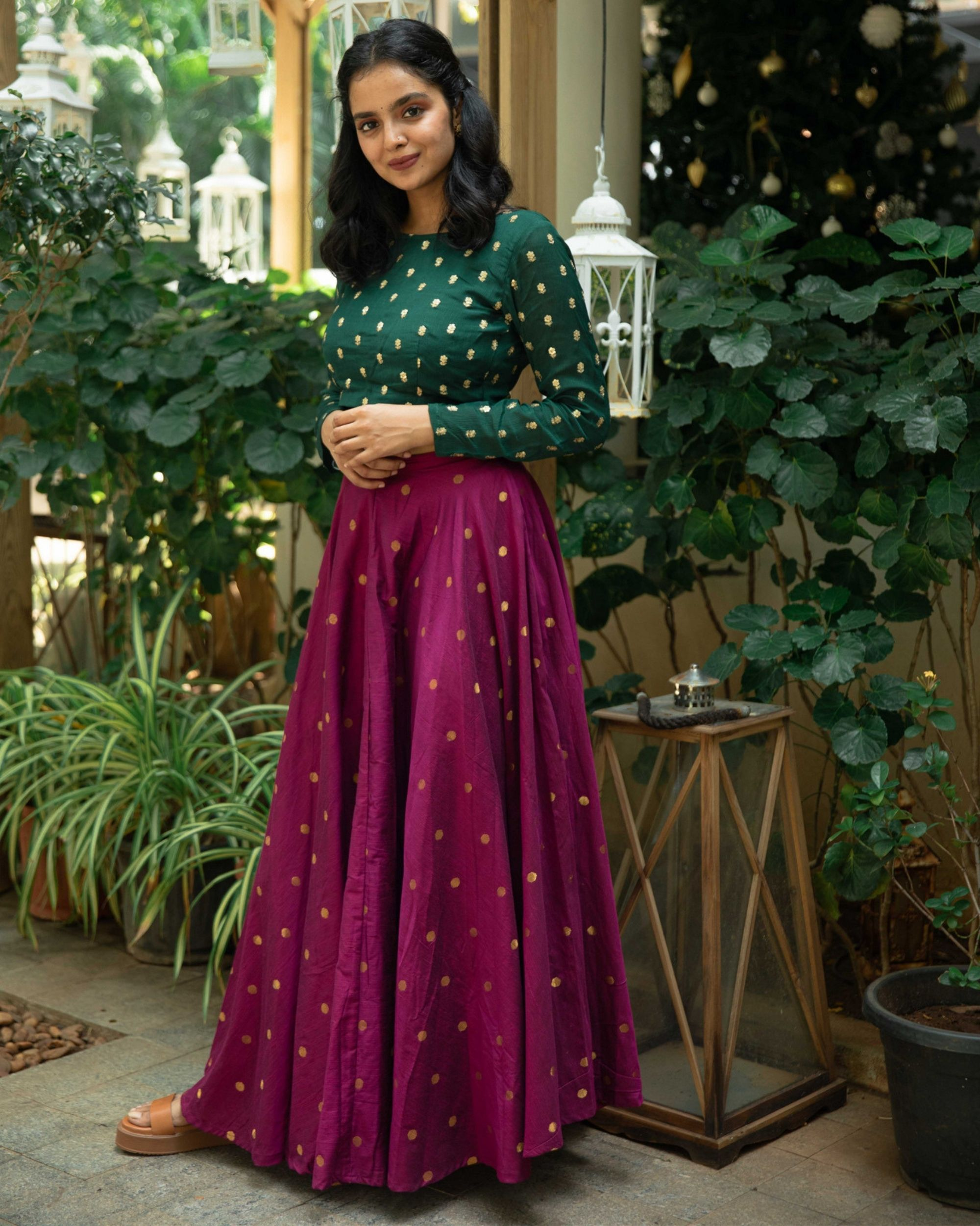 Green embroidered crop top and purple flared skirt - set of two