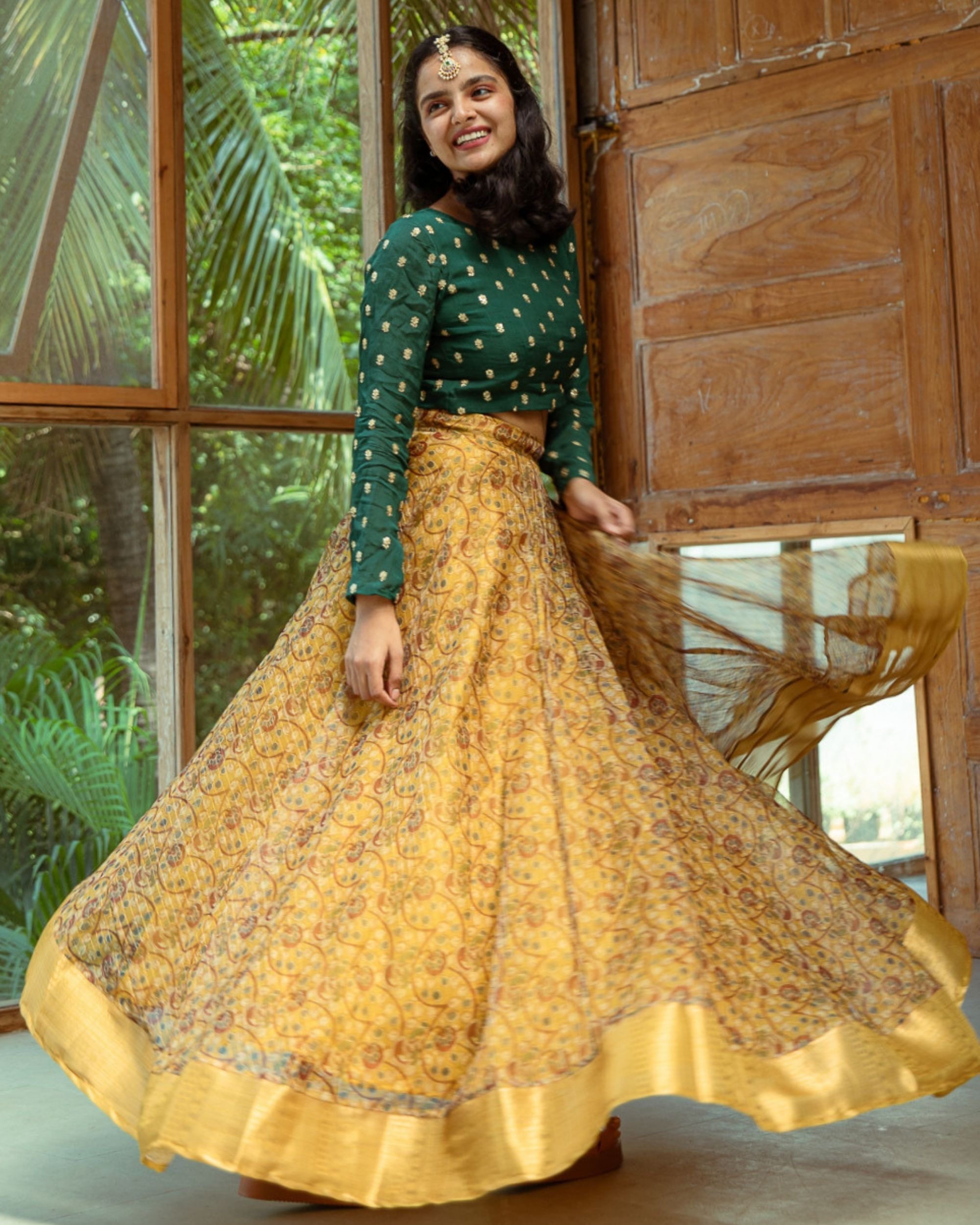 Green embroidered crop top and yellow organza skirt - set of two