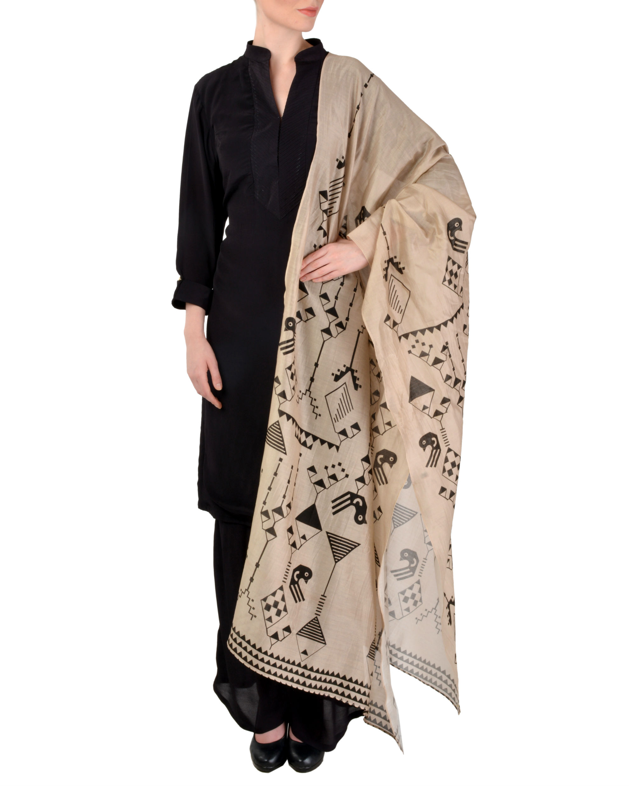 Black kurta churidar with dupatta set