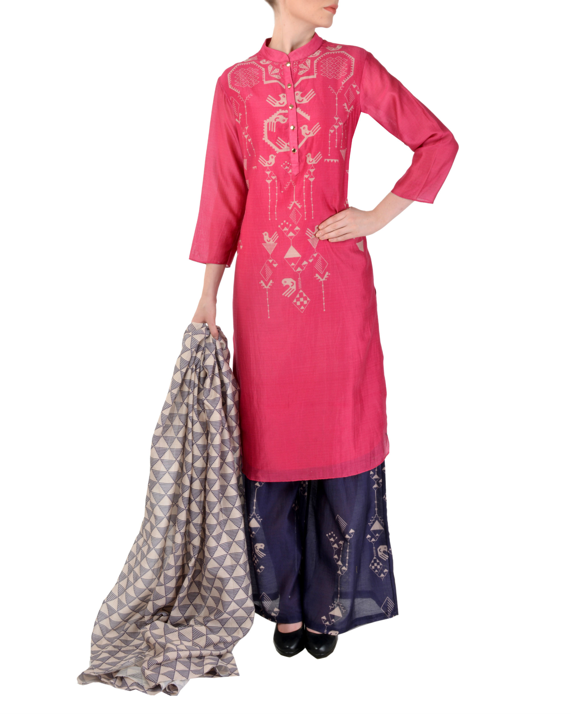 Pink and blue kurta palazzo with dupatta set