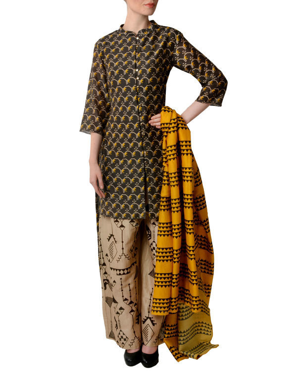Black and beige kurta palazzo with dupatta set