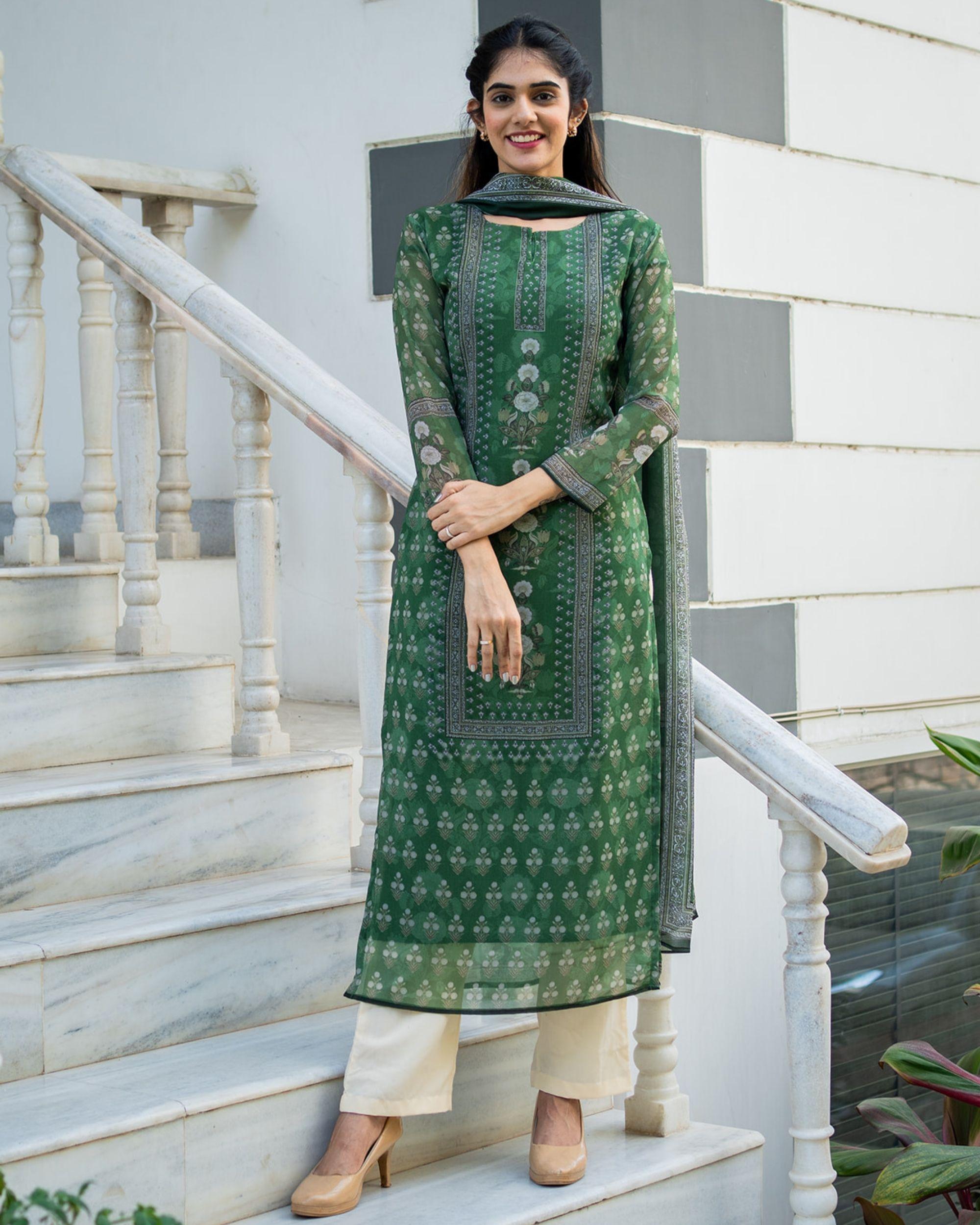 Green yoke suit set with dupatta - set of three