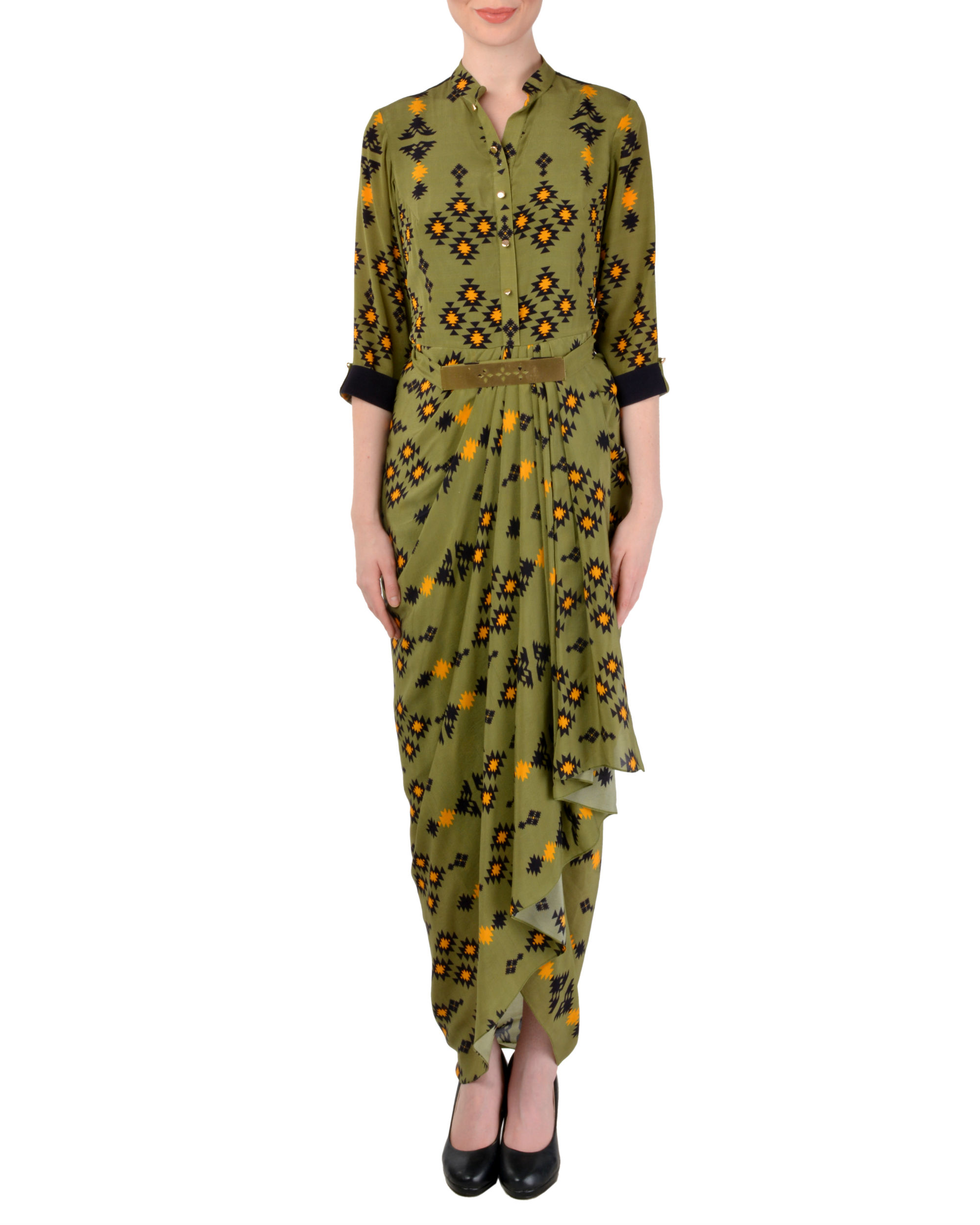 Olive green dhoti shirt dress