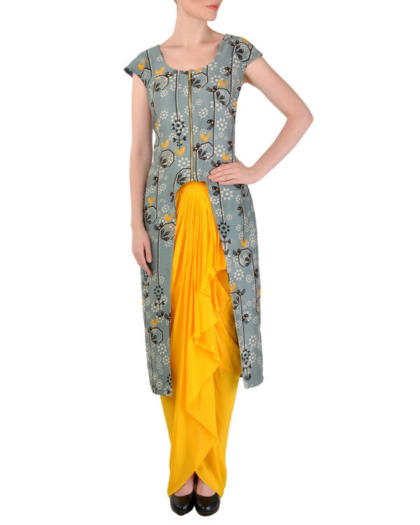 Grey tunic with yellow dhoti pants