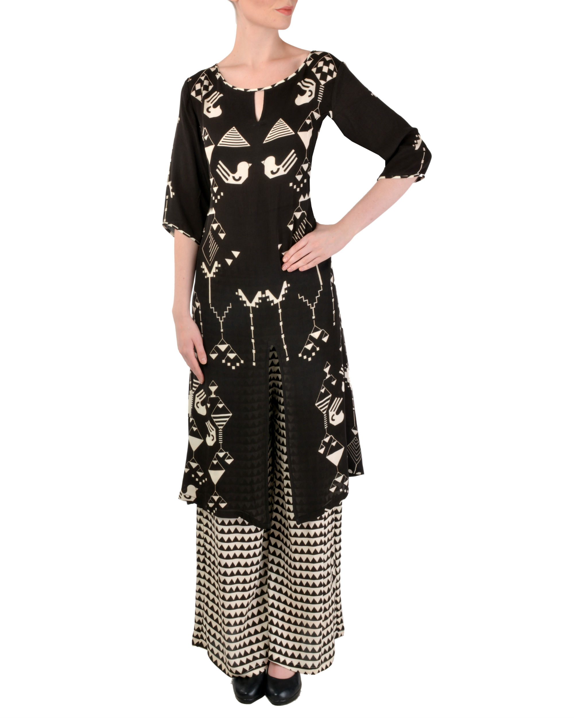 Black kurta with printed palazzo set