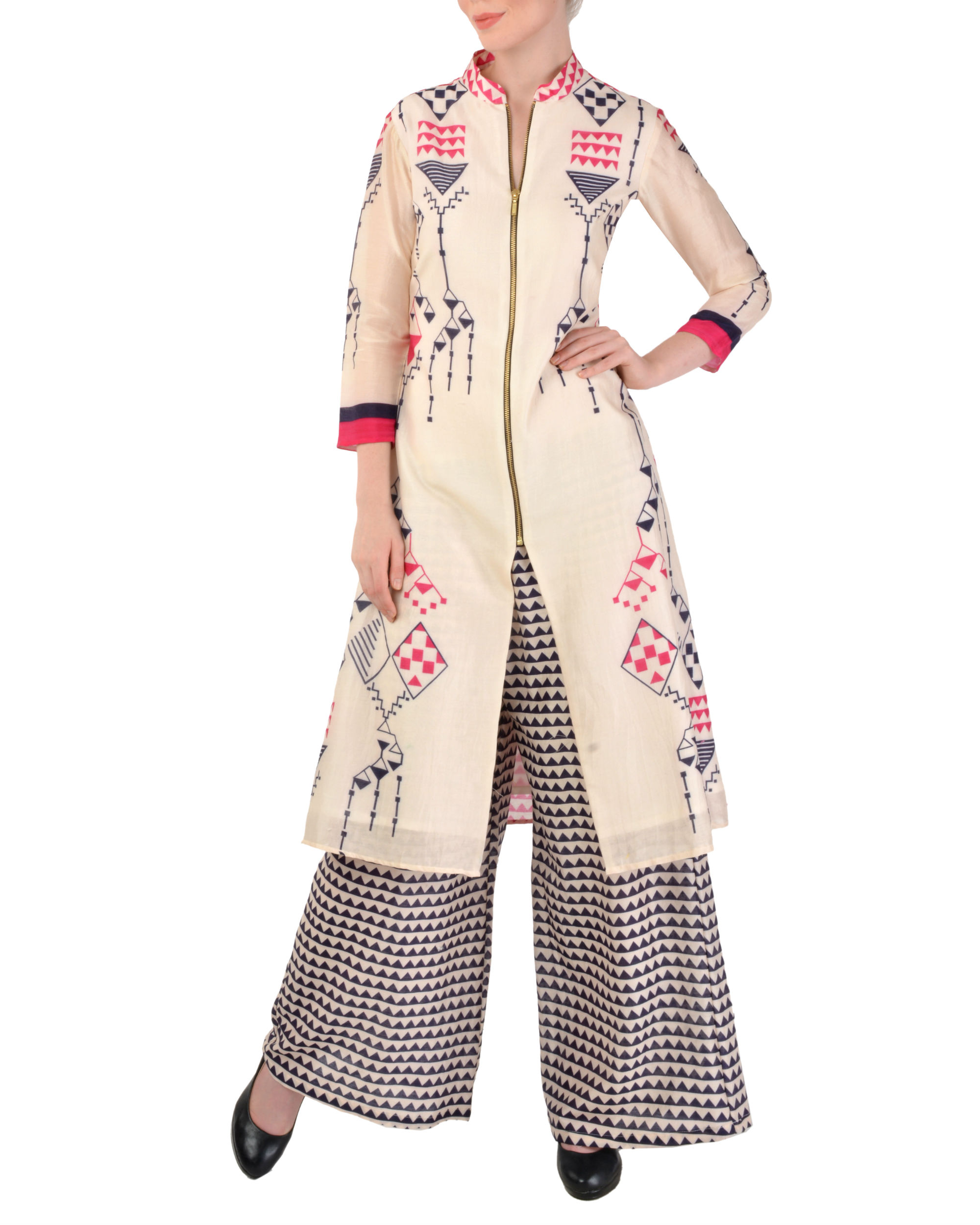 Off white kurta with grey palazzo set
