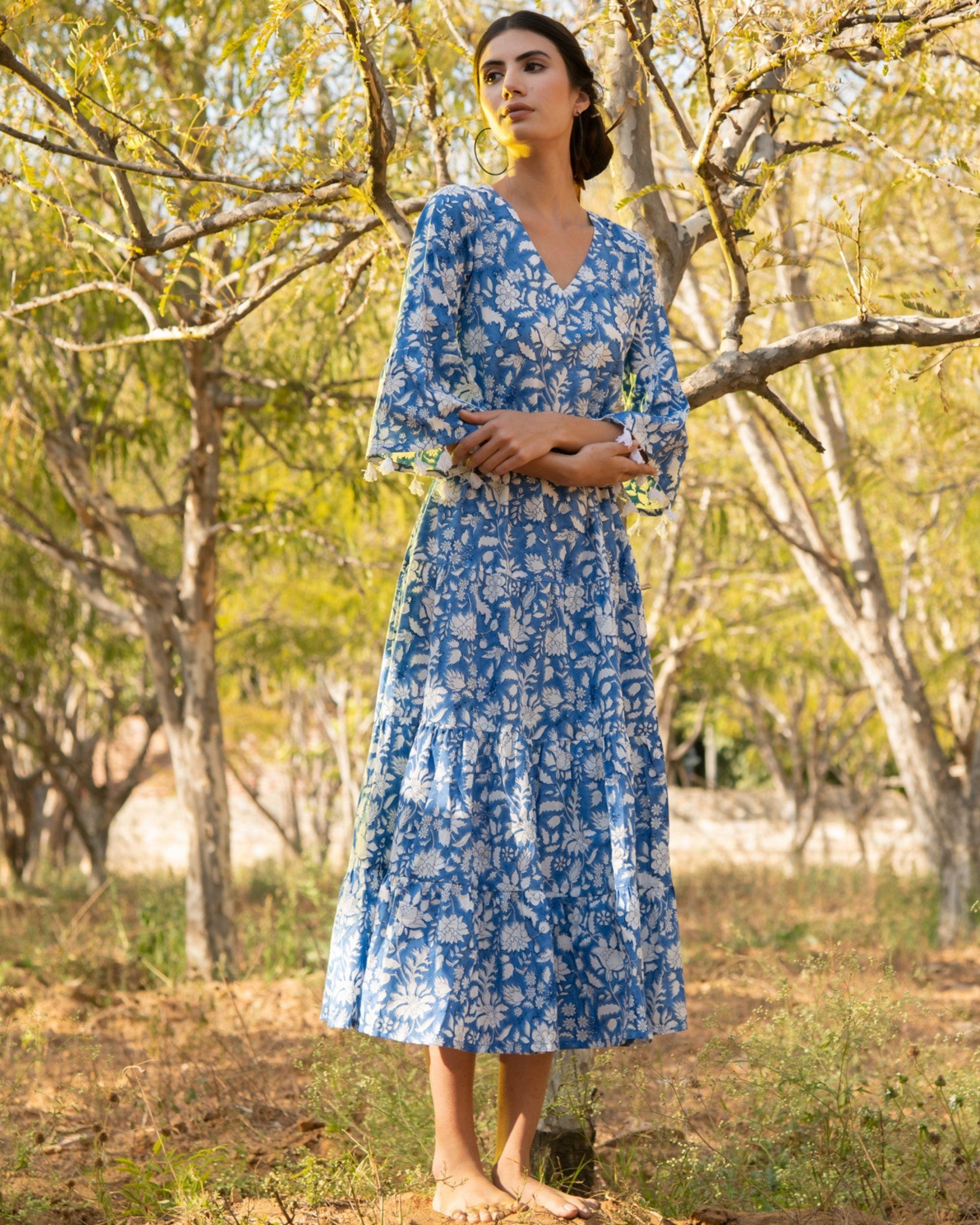 Cool blue tier dress