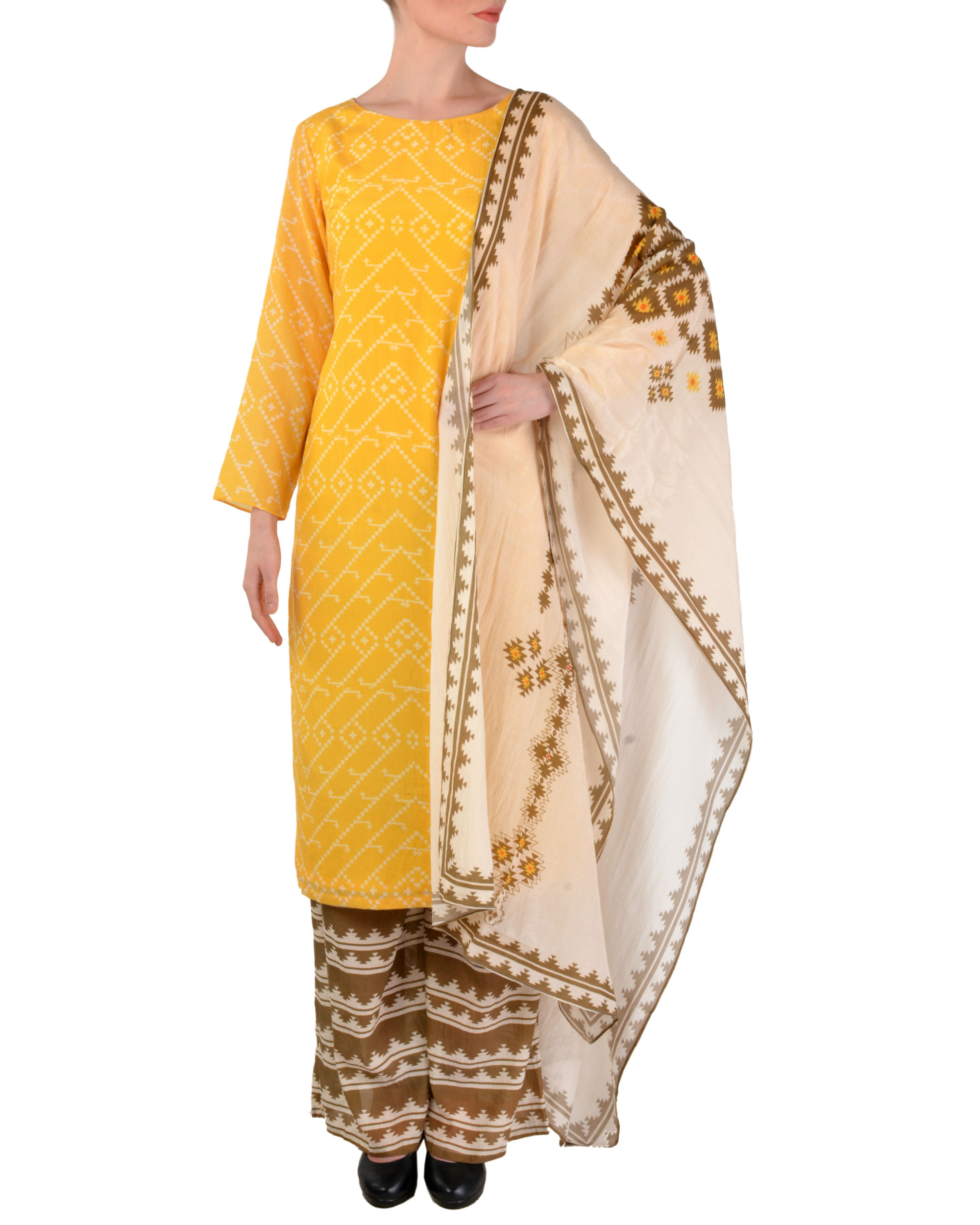 Yellow kurta palazzo with dupatta set