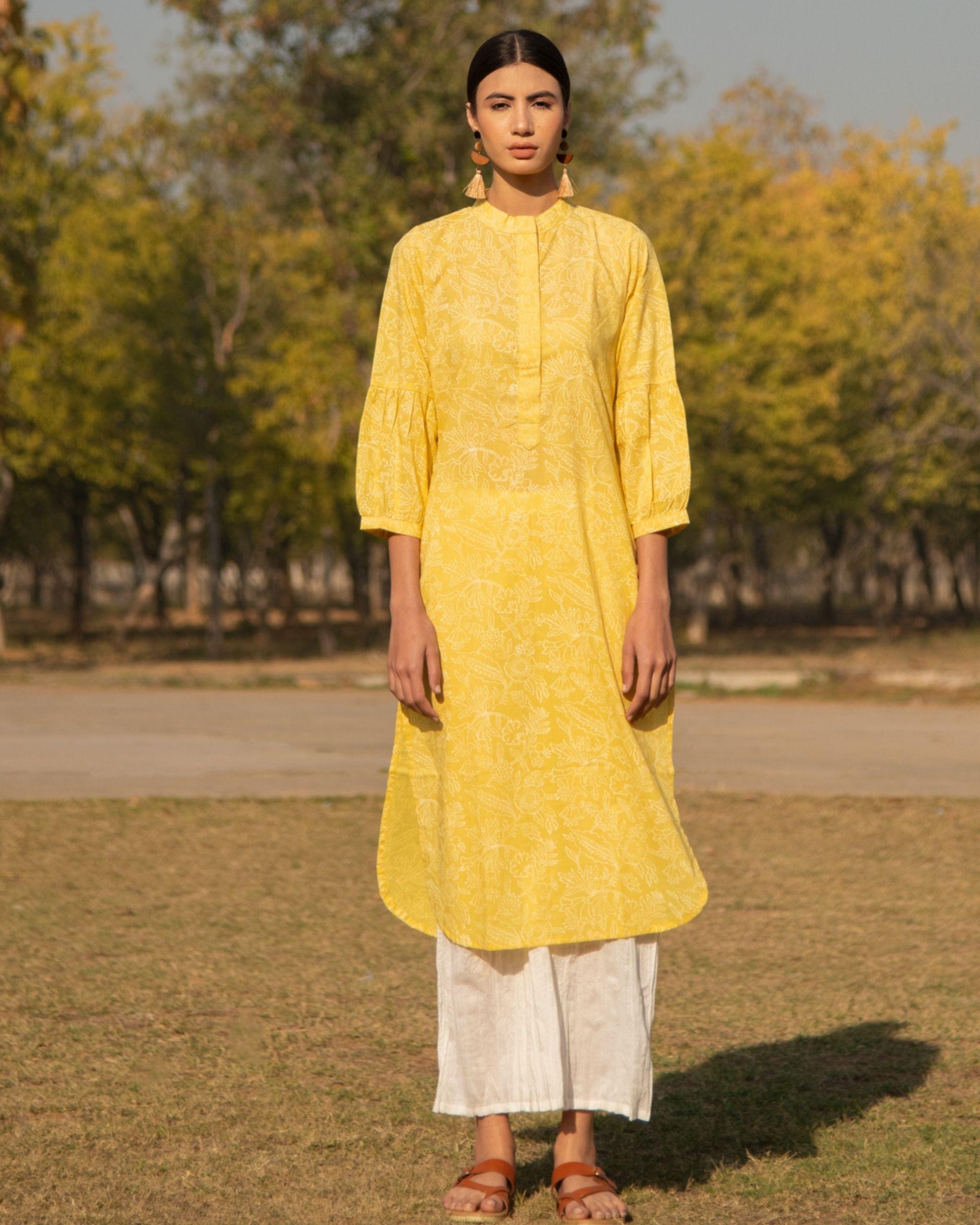 Summery yellow kurta set - set of two