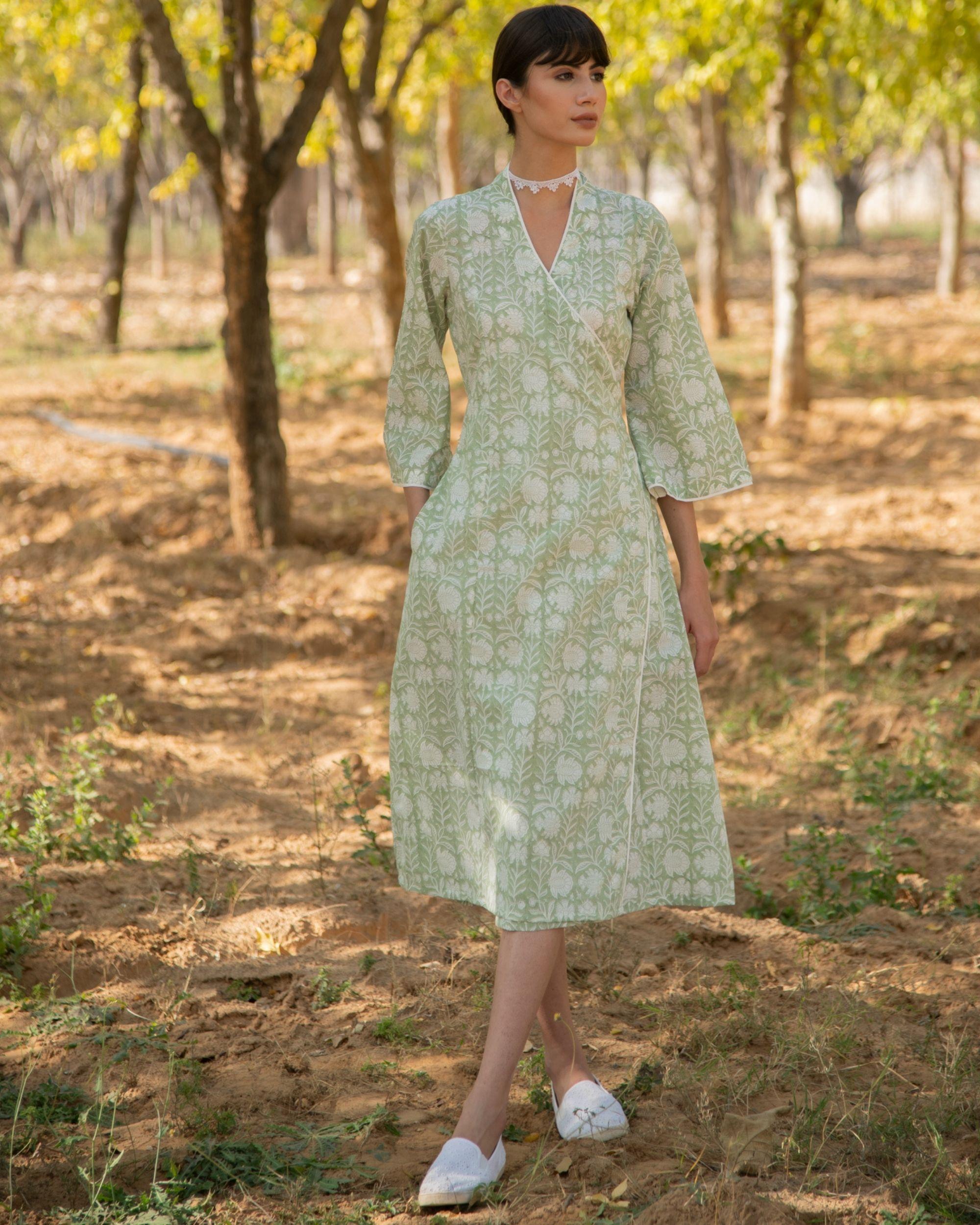 Pastel green wrap dress