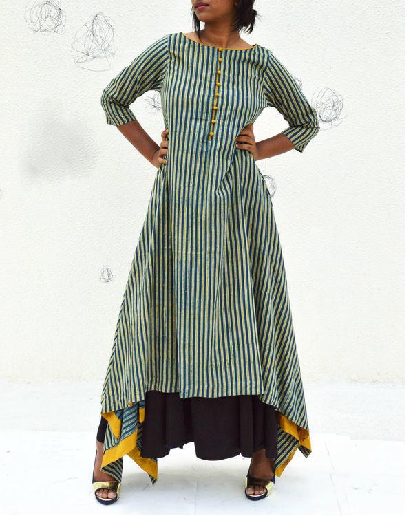 Indigo striped asymetric kurta