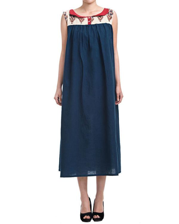 Indigo gathered dress