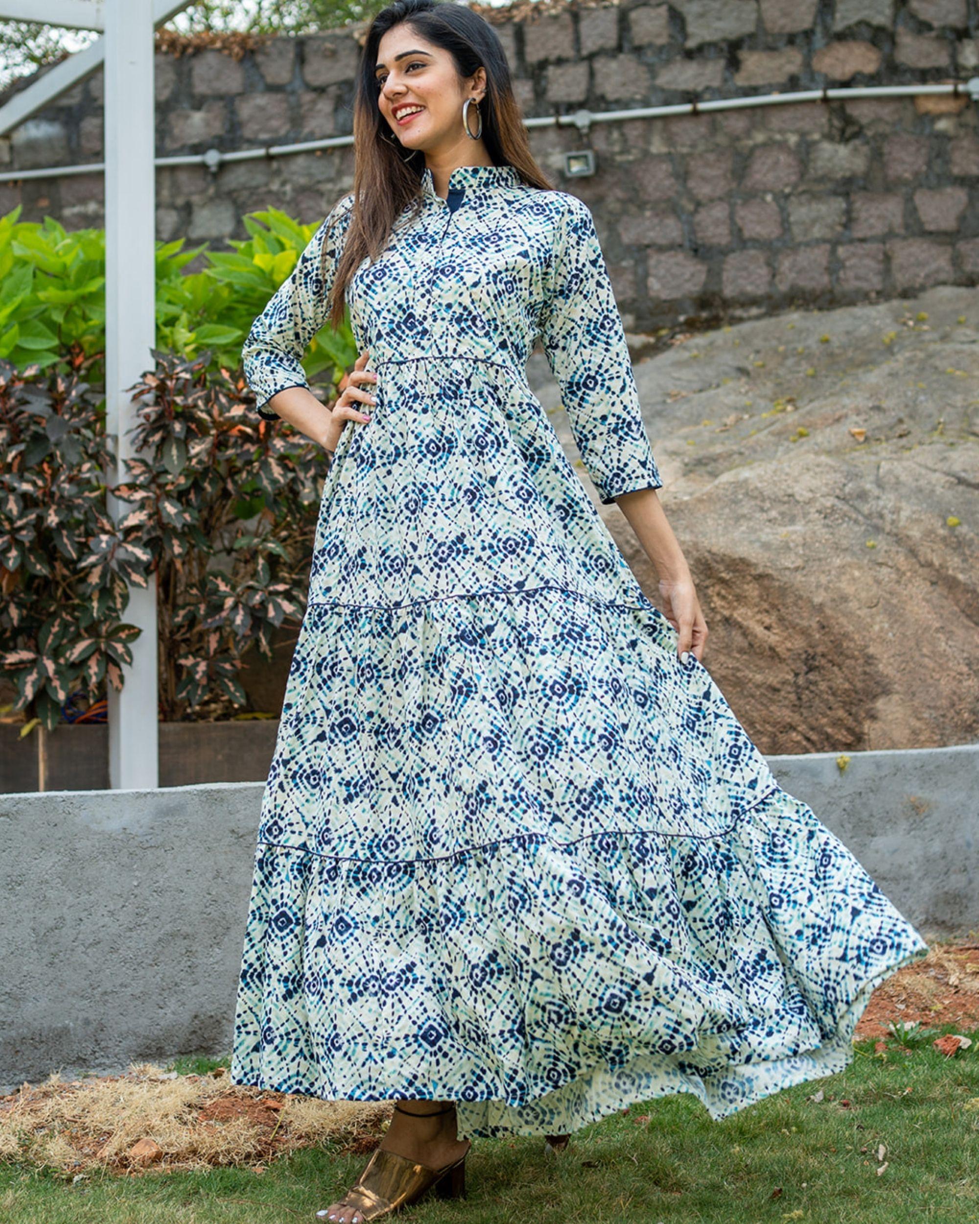 Blue tie dye layered dress