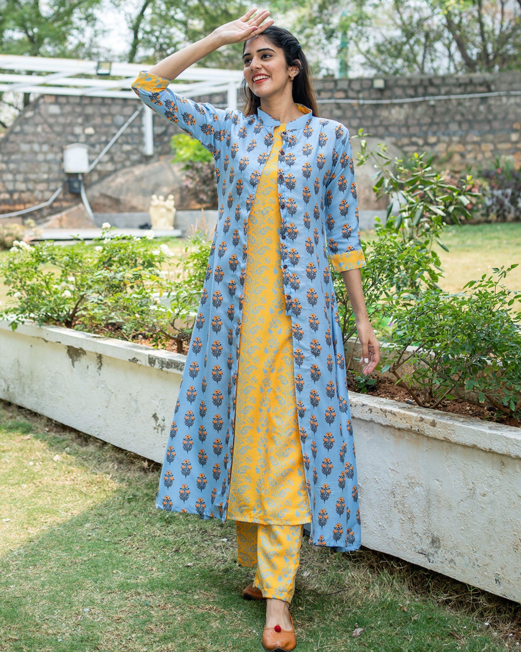Yellow floral printed kurta set with jacket - set of three