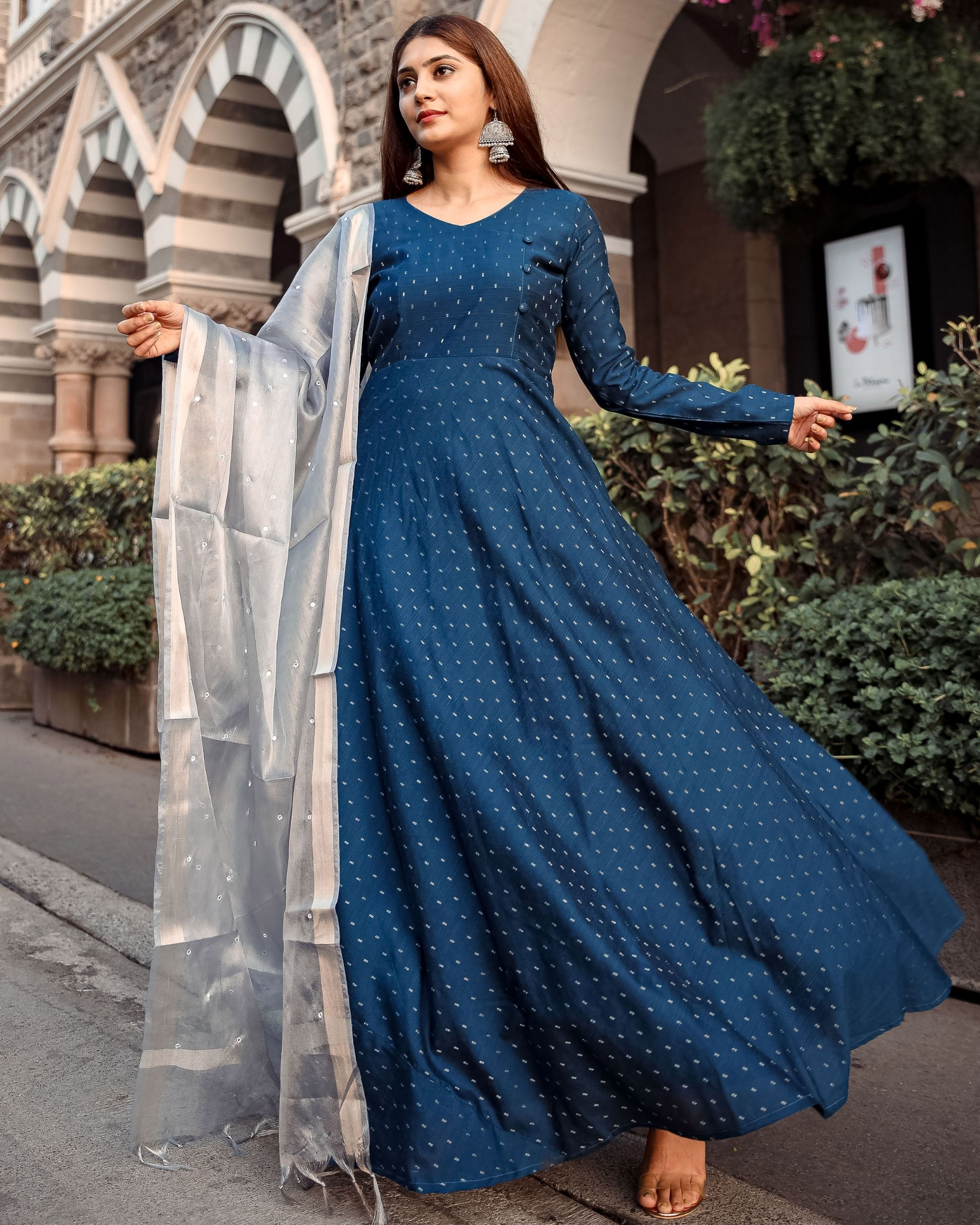 Teal flared dress with tissue mirror work dupatta - set of two