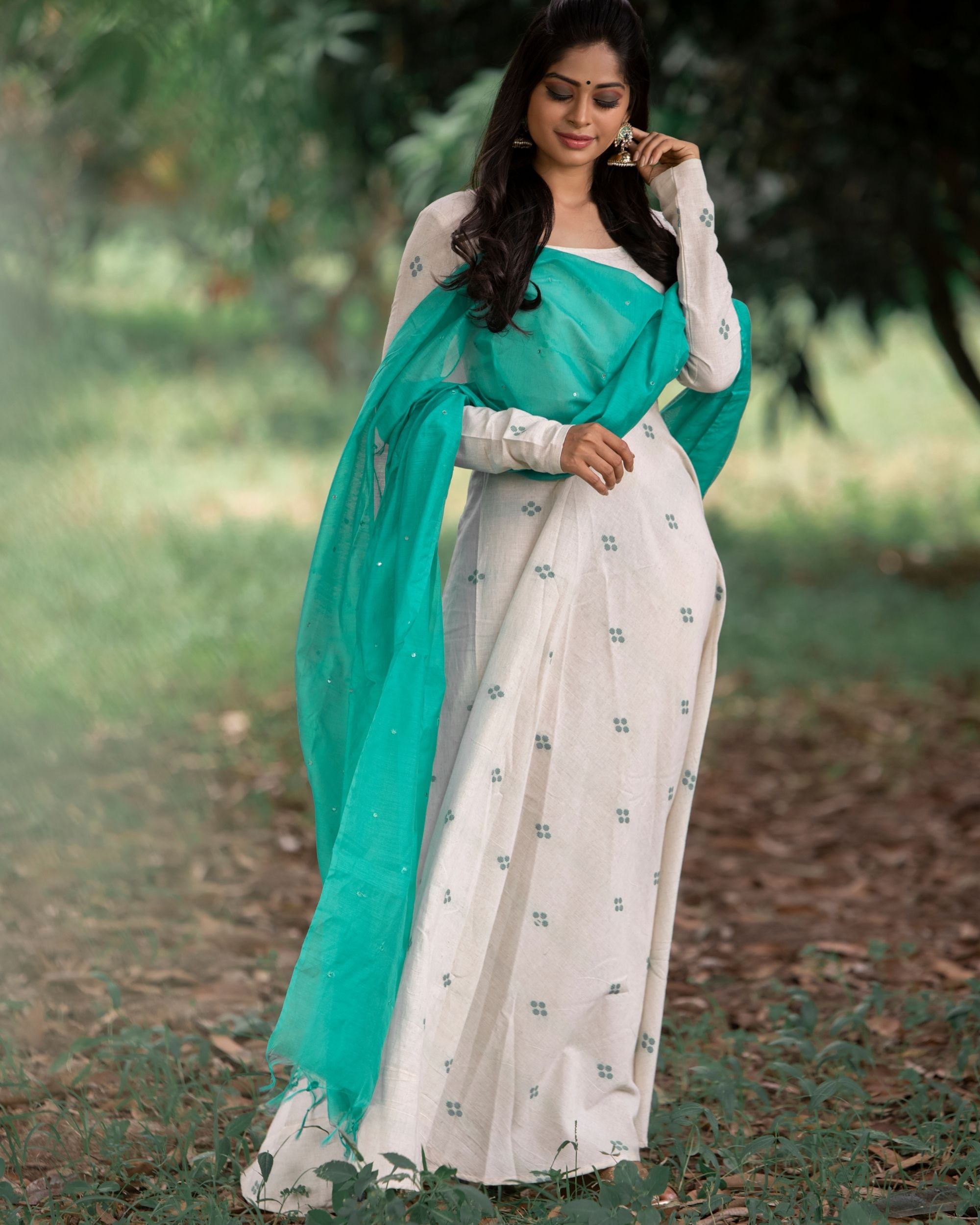 Off white organic cotton dress with green dupatta - set of two