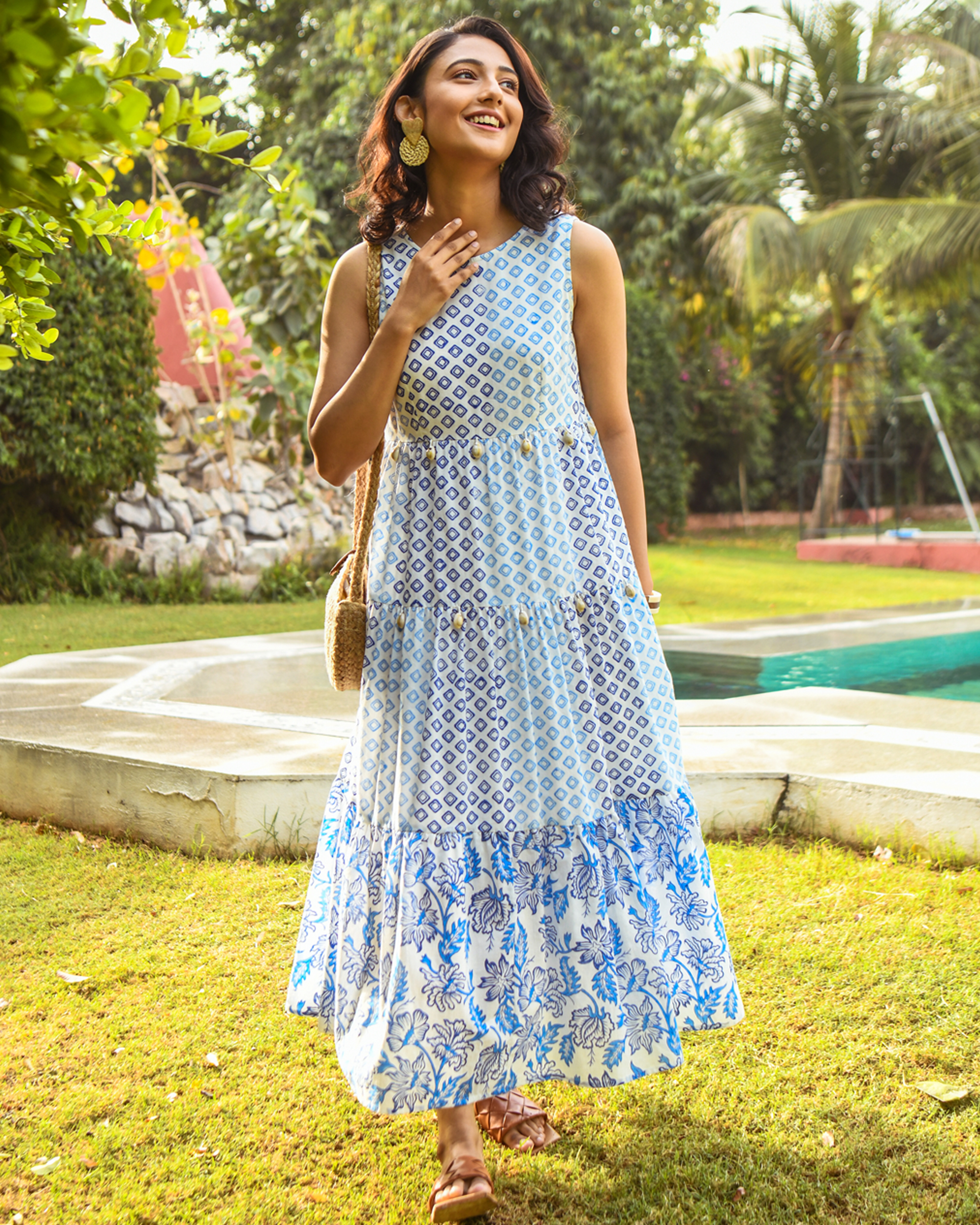 Blue printed tiered maxi dress