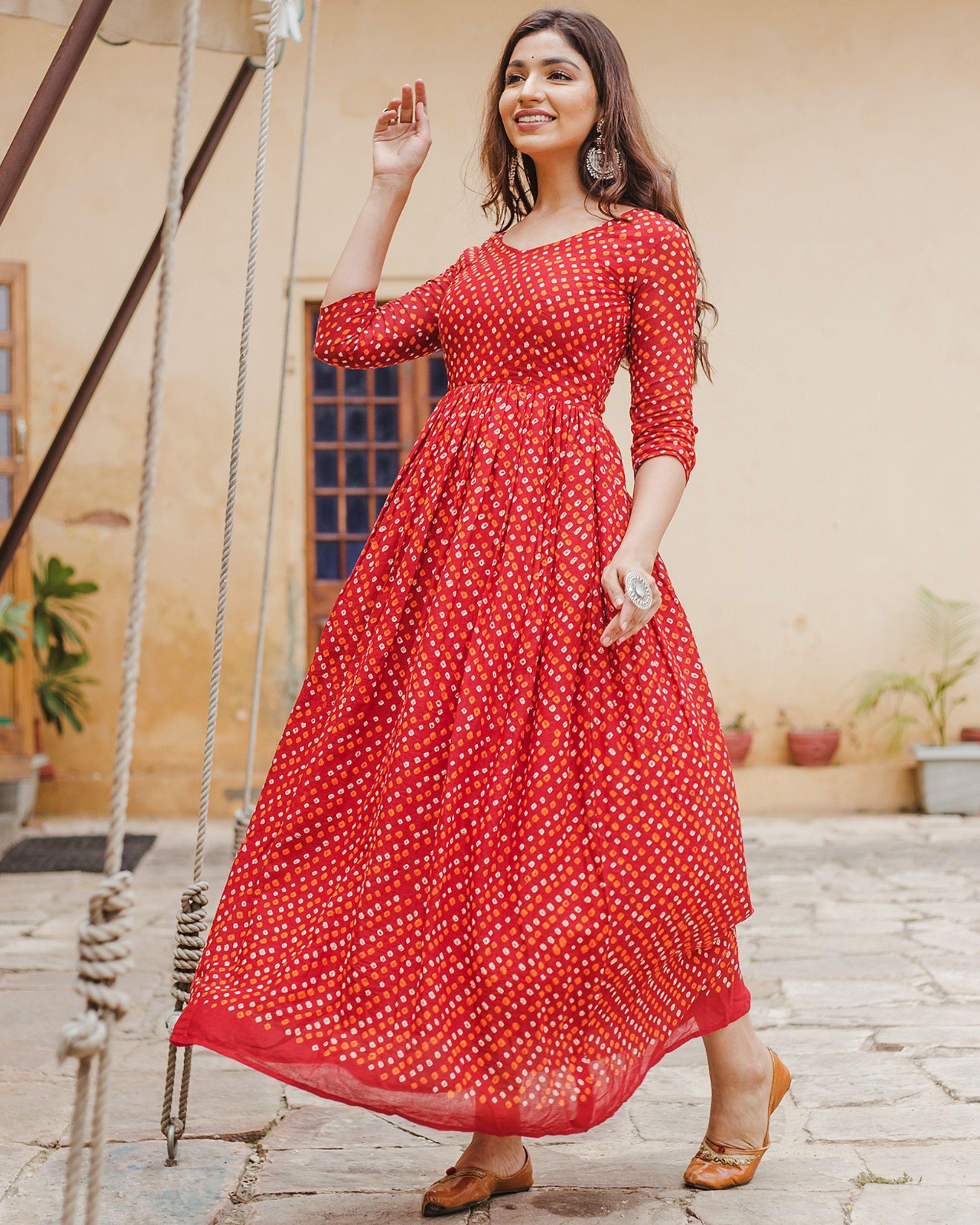 Red bandhani dress