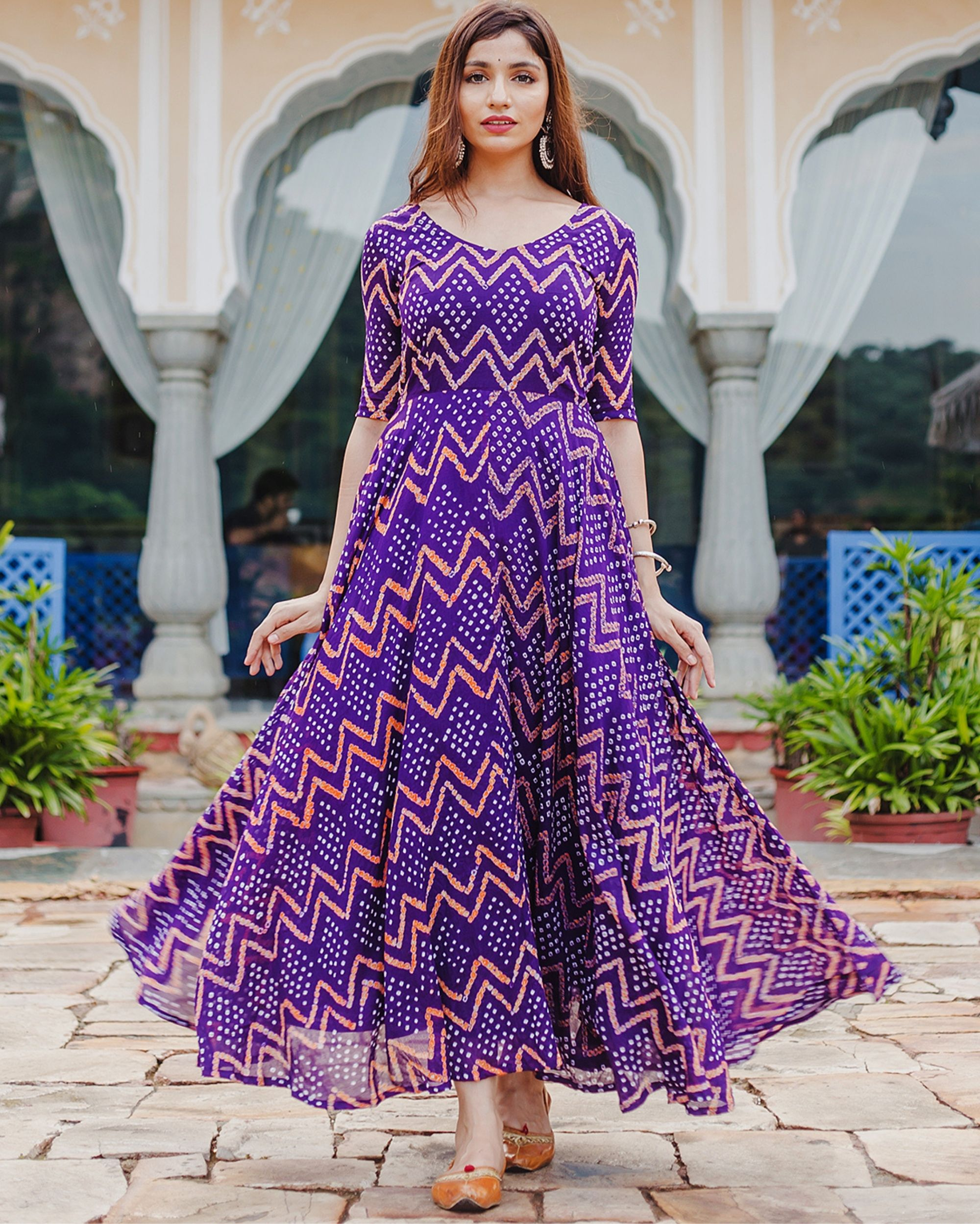 Violet bandhani dress