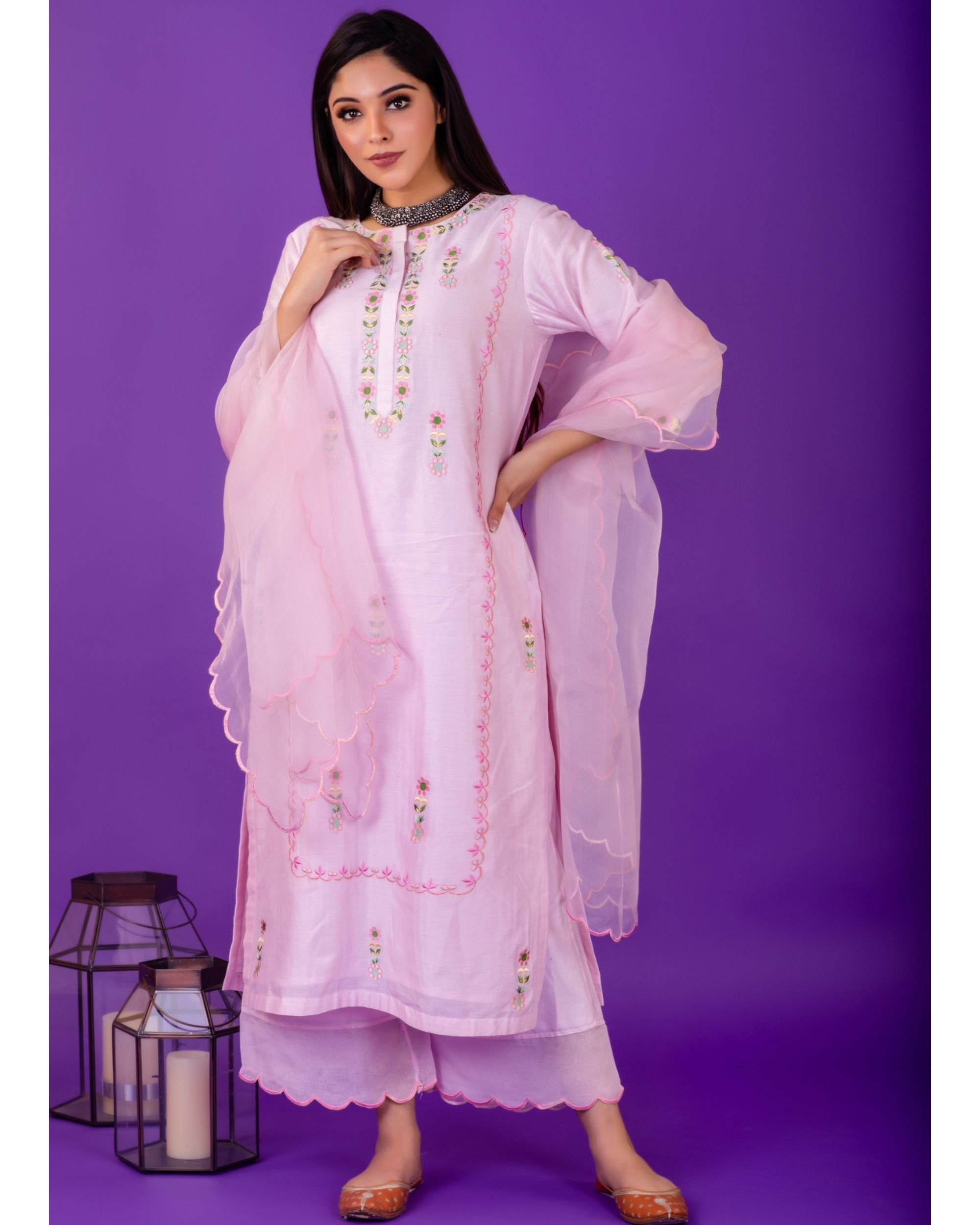 Pink hand emboidered chanderi silk kurta with silk palazzo and organza dupatta - set of three
