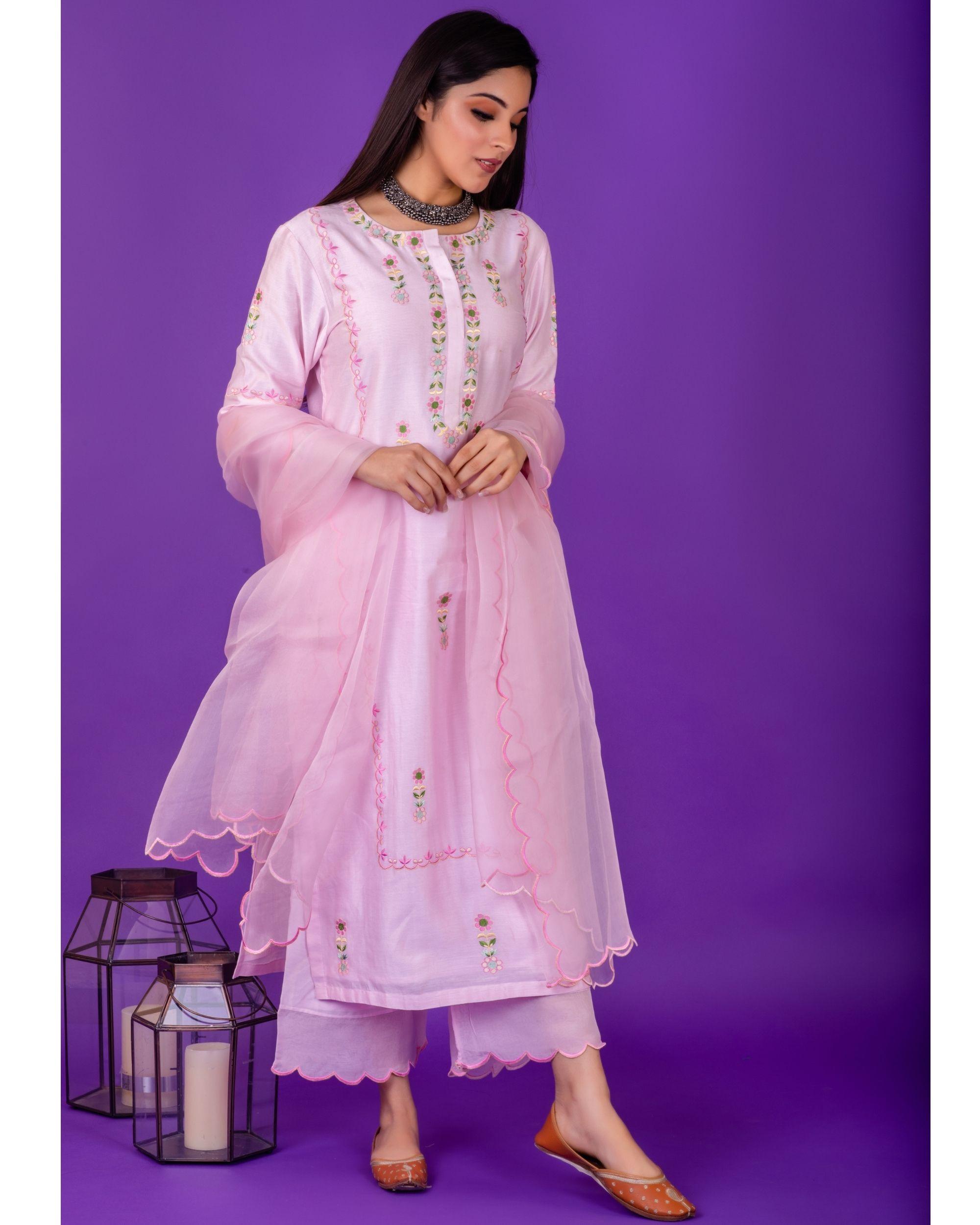 Pink hand emboidered chanderi silk kurta with palazzo - set of two