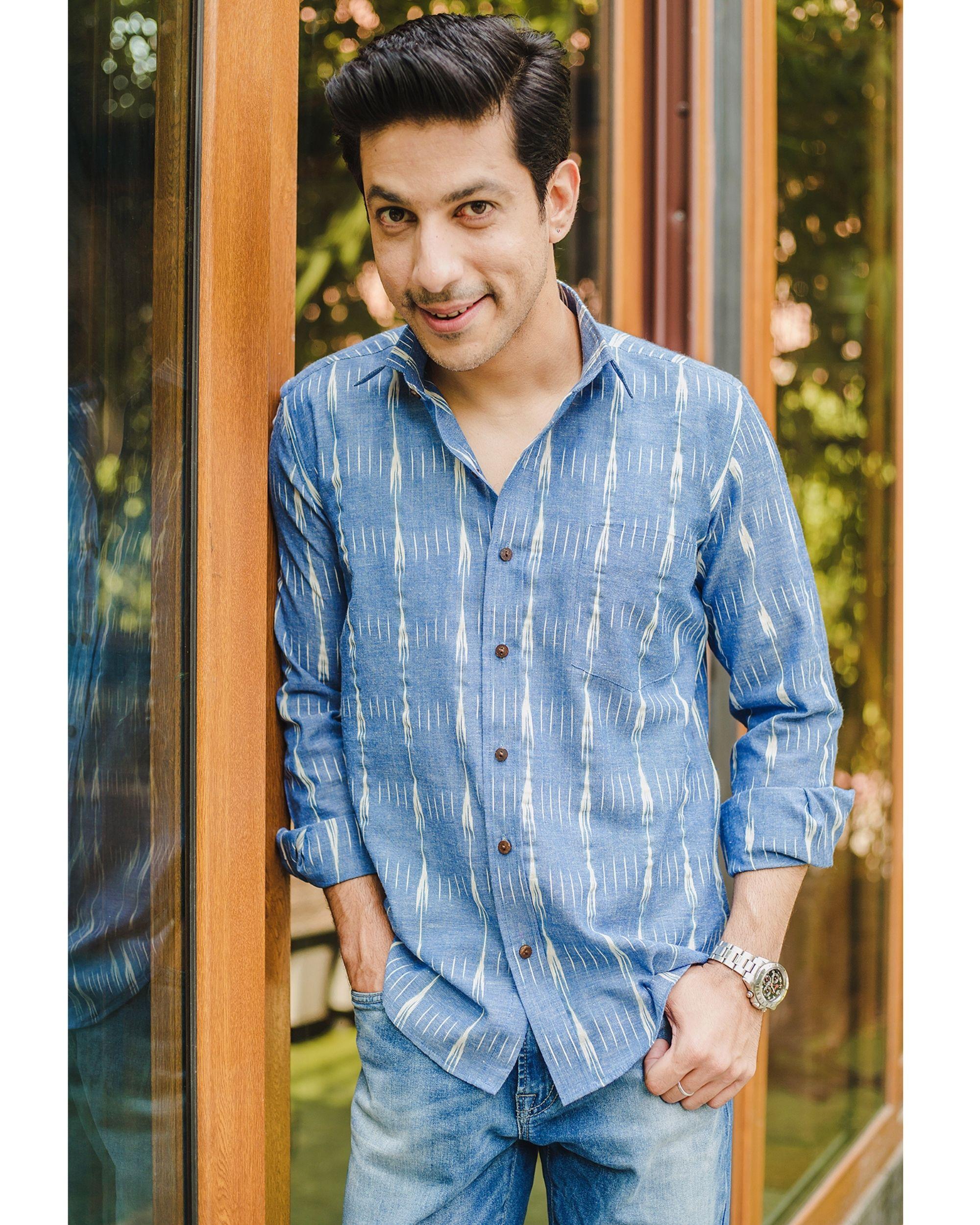 Blue double striped ikat shirt