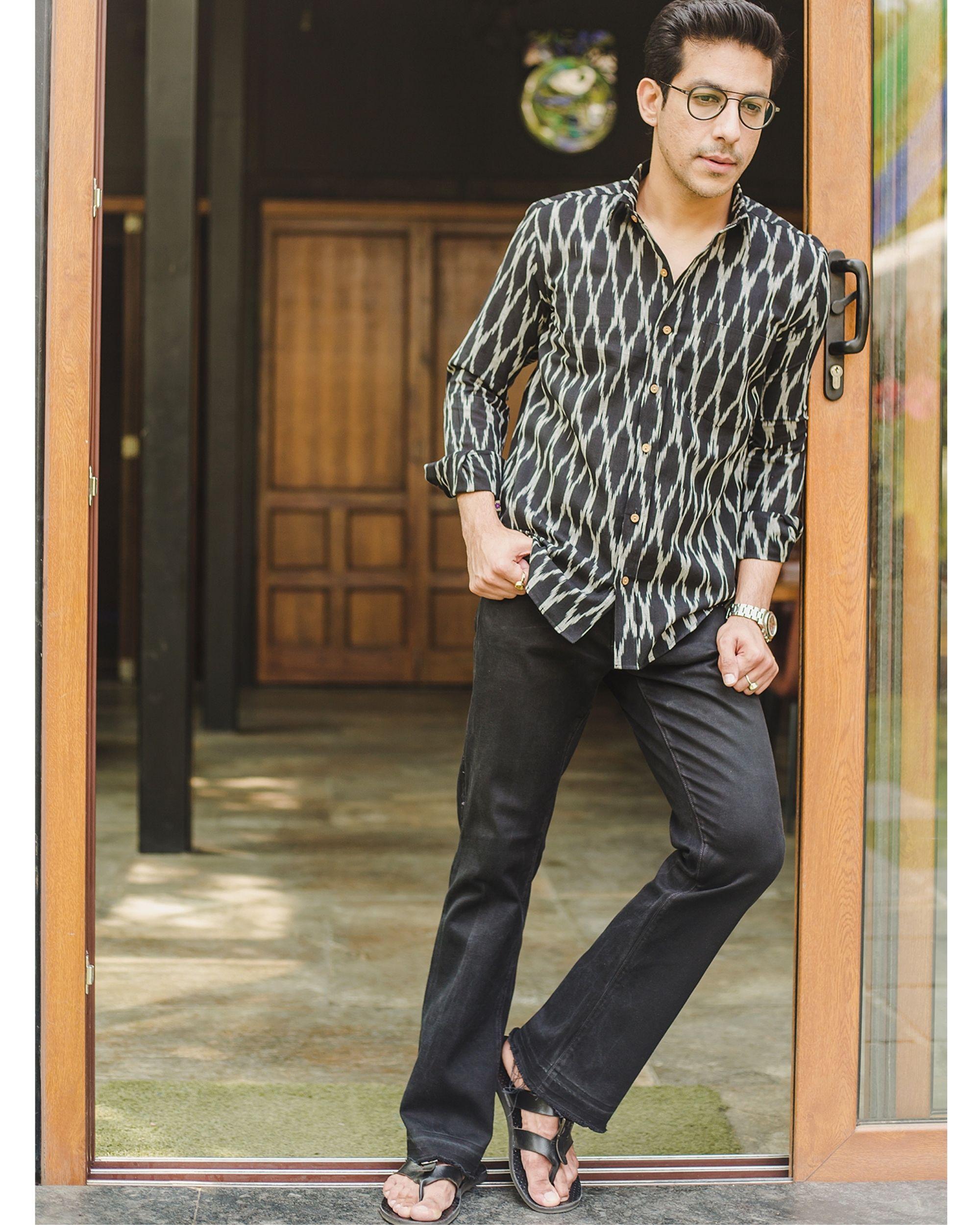 Black honeycomb ikat shirt
