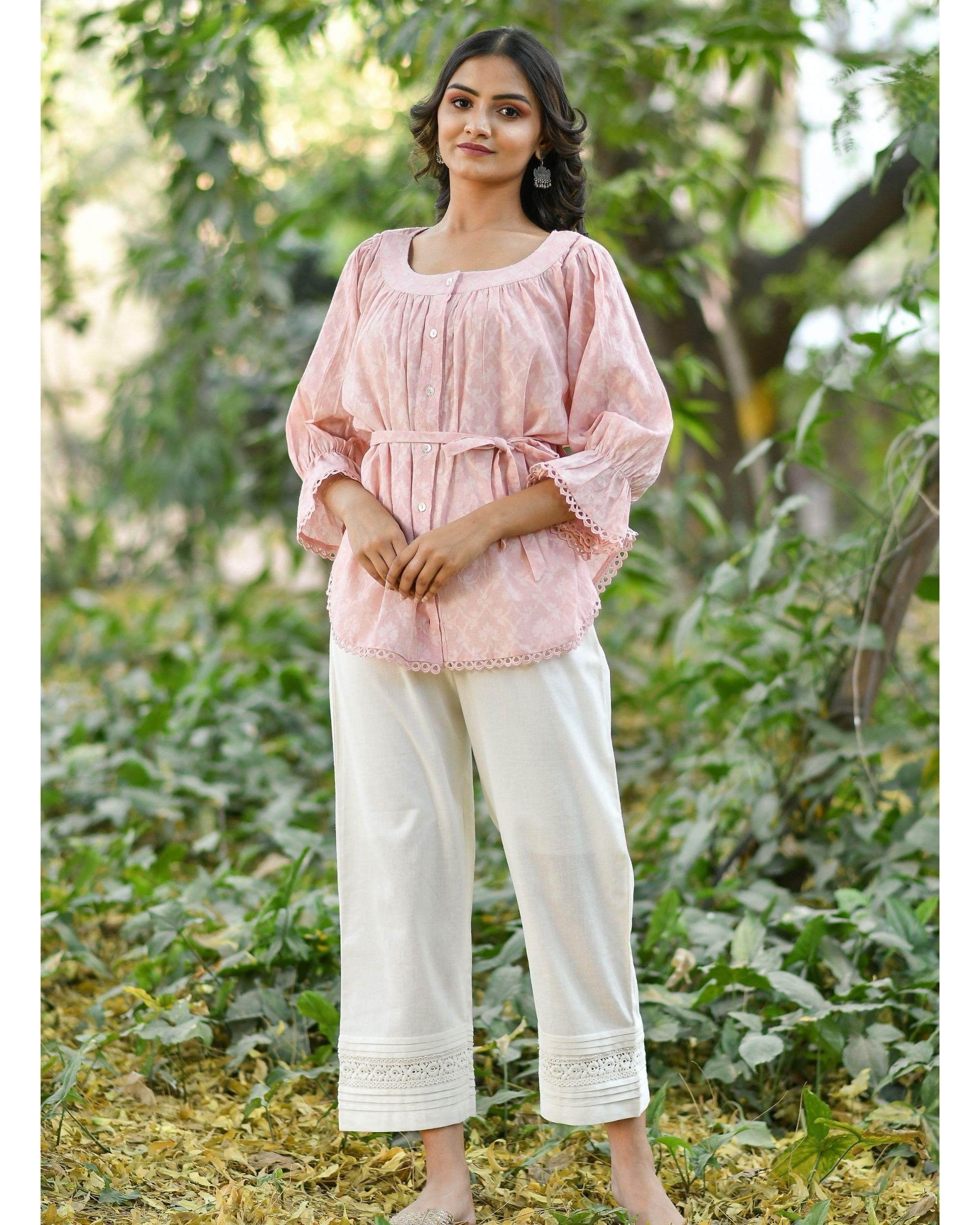 Pink jacquard top with pants - set of two