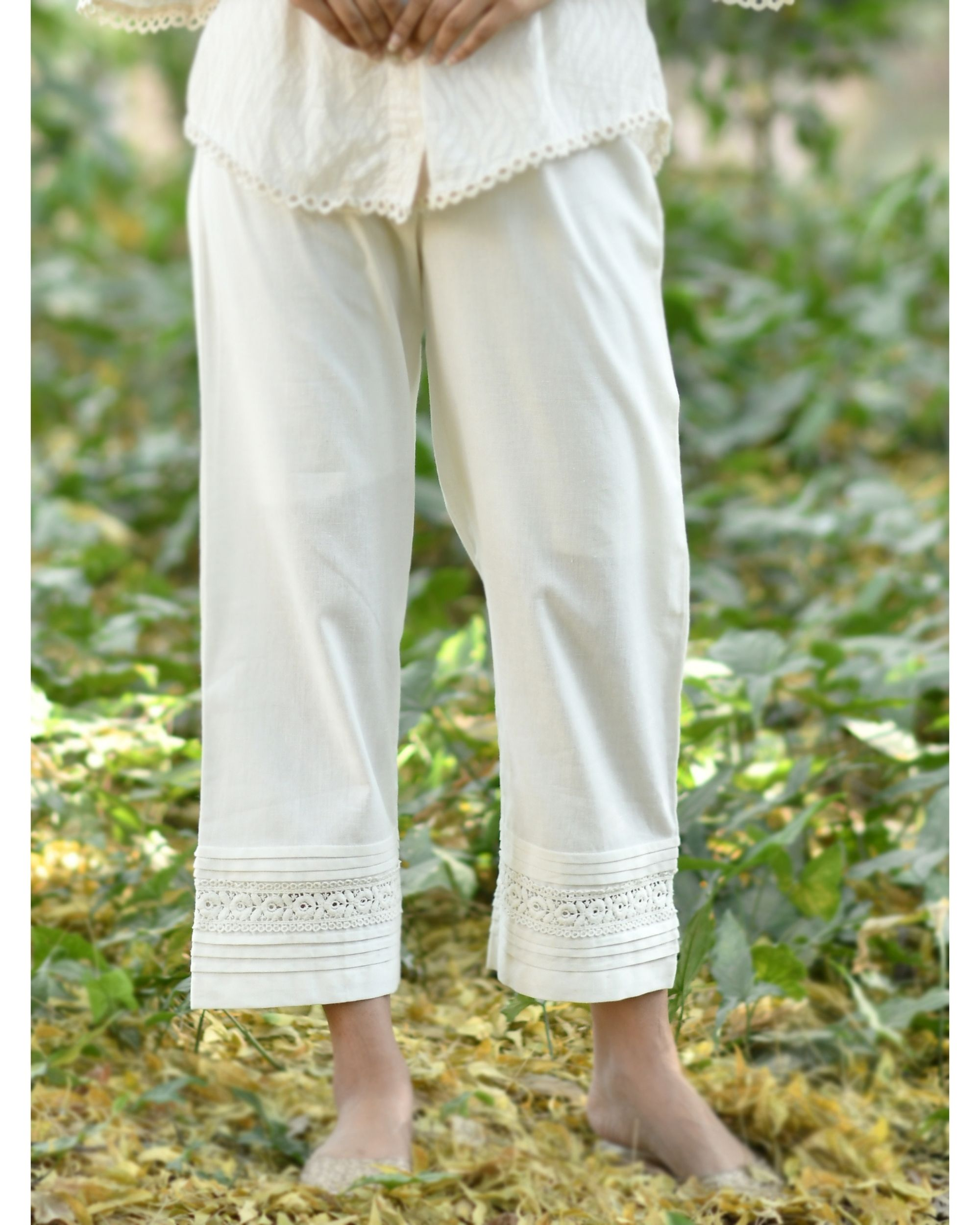 Off white lace detailed cotton pants