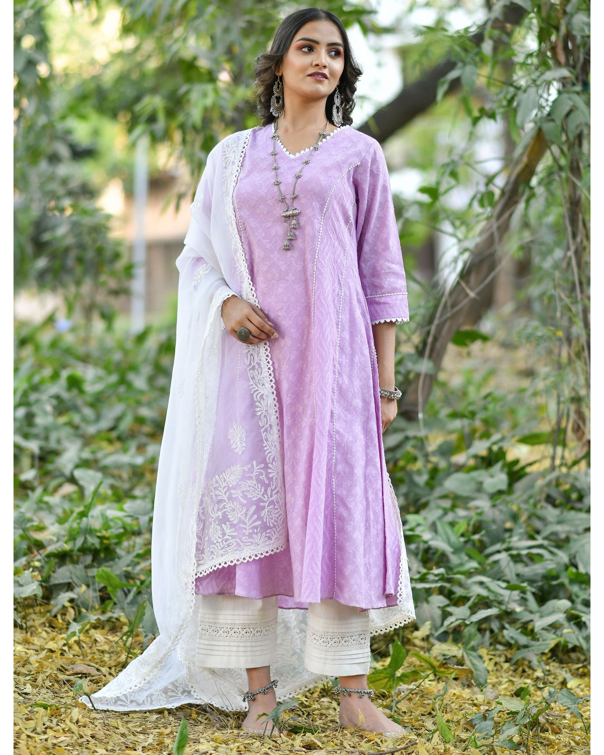 Purple jacquard cotton anarkali kurta set - set of three