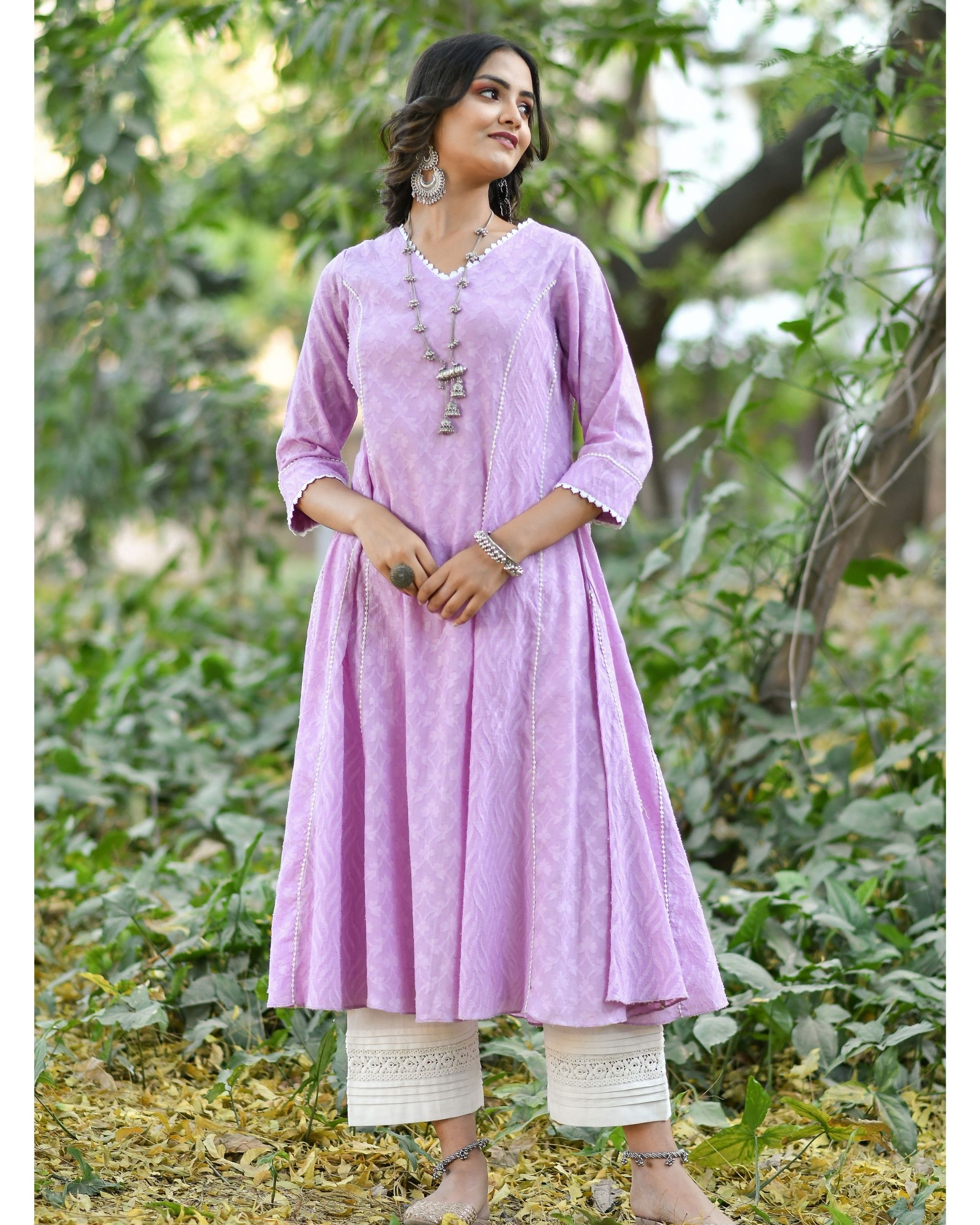 Purple jacquard cotton anarkali kurta