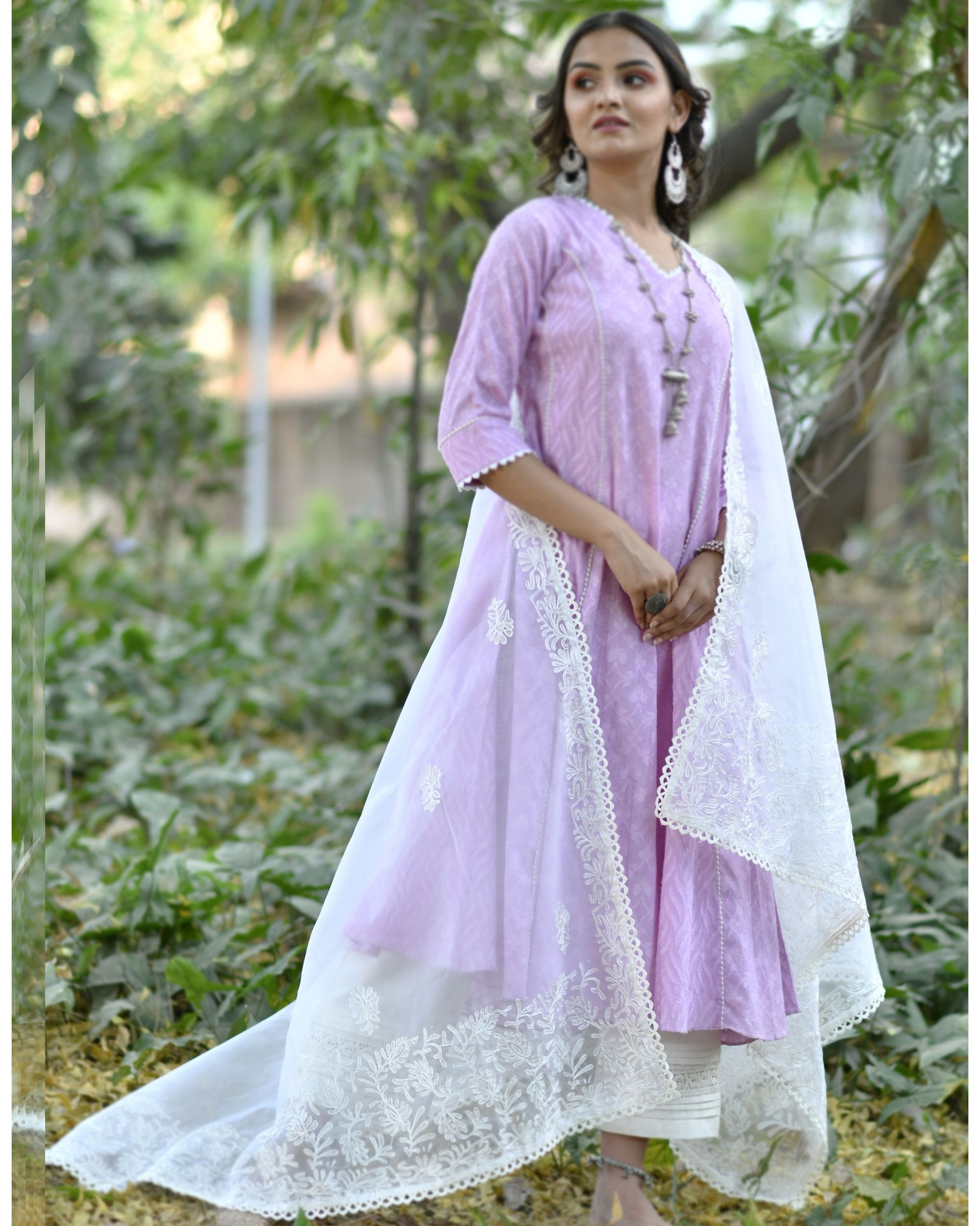 White aare embroidered organza dupatta