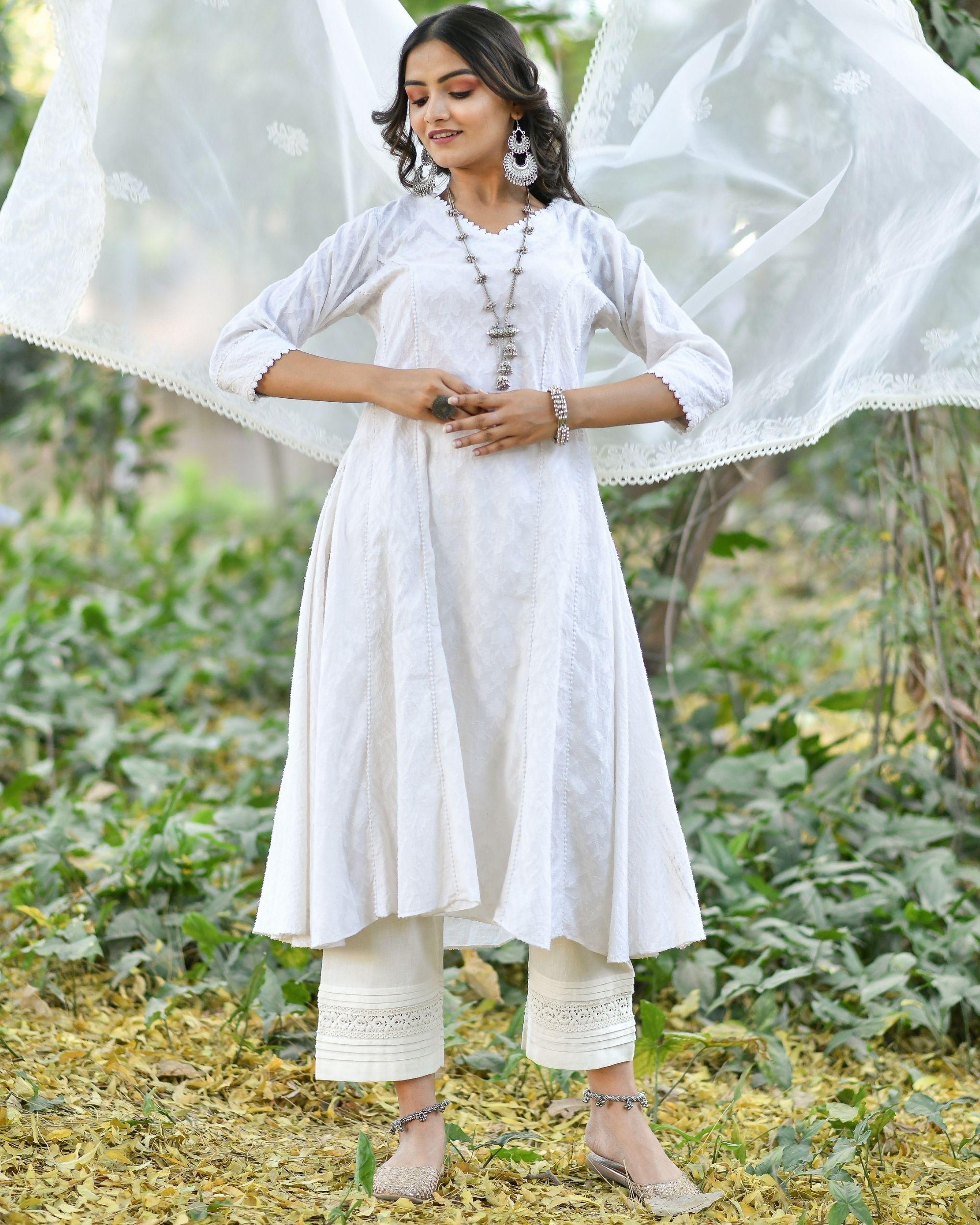 Off white jacquard cotton anarkali kurta