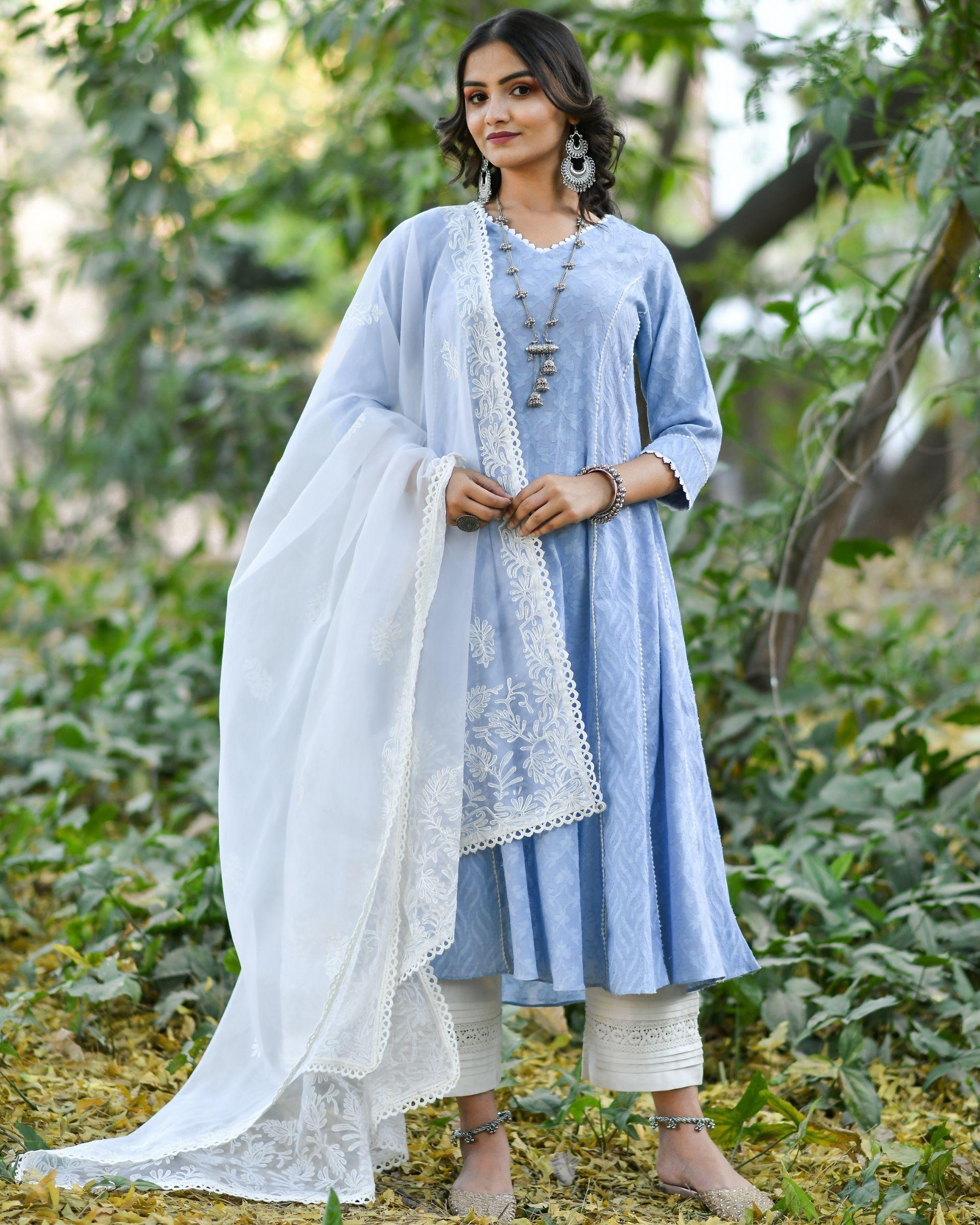 Blue jacquard cotton anarkali kurta set - set of three